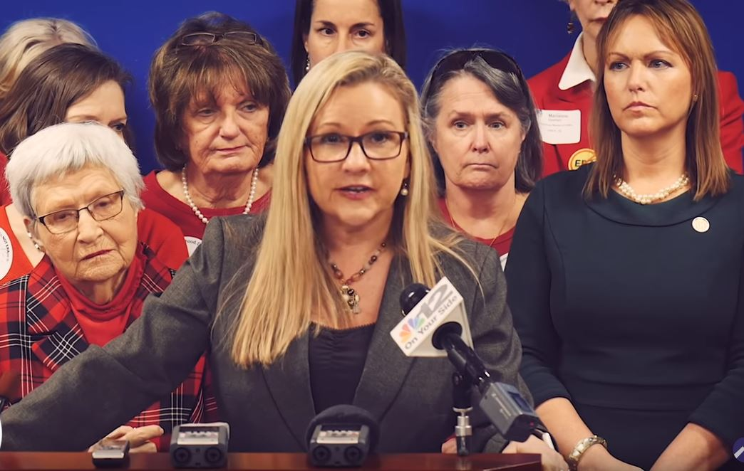 Senator Amanda Chase speaking against the ERA at the January 10th press conference.