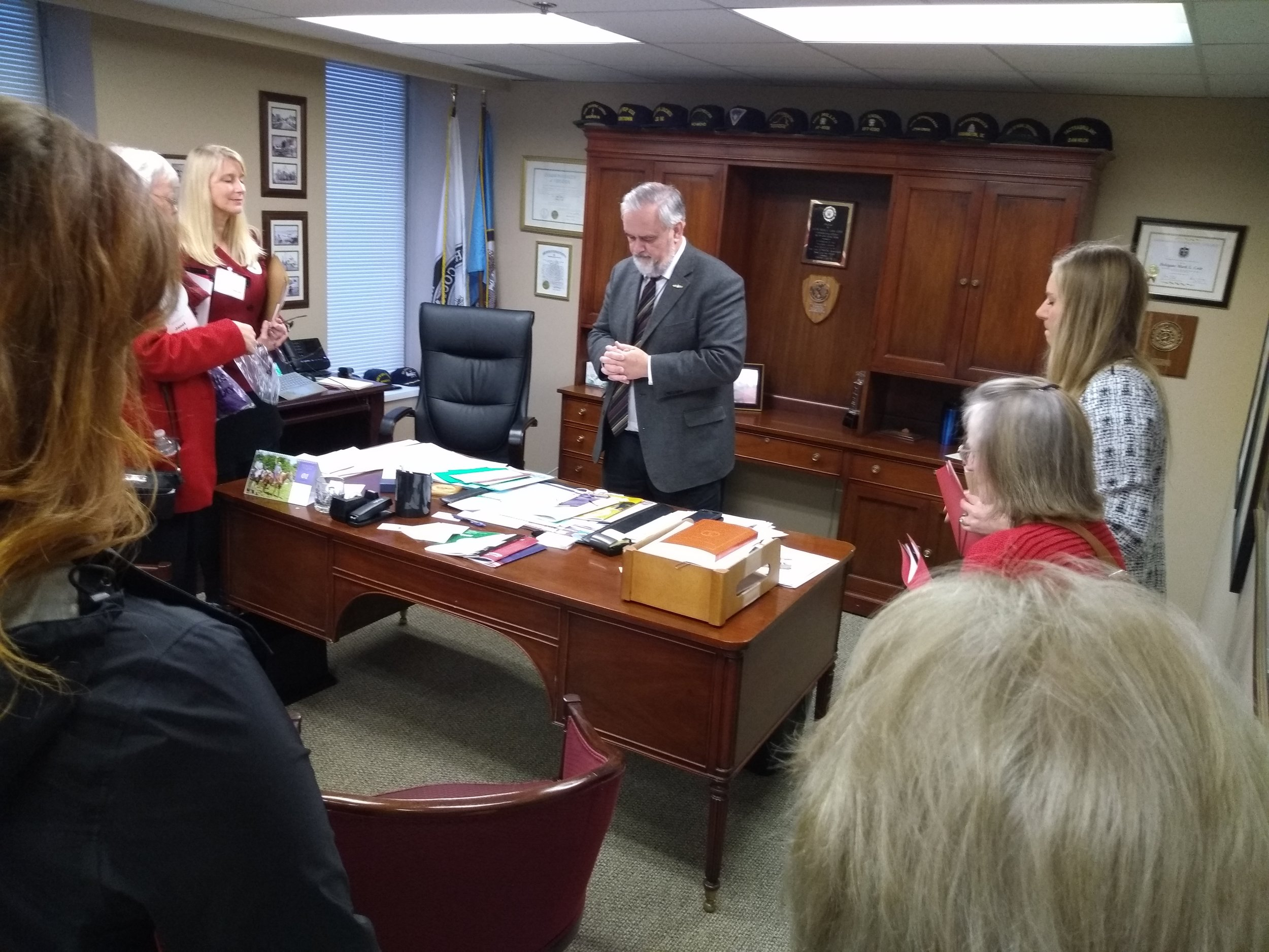 Ladies prayed for Delegate Mark Cole as he continues to be attacked for his position on the ERA.