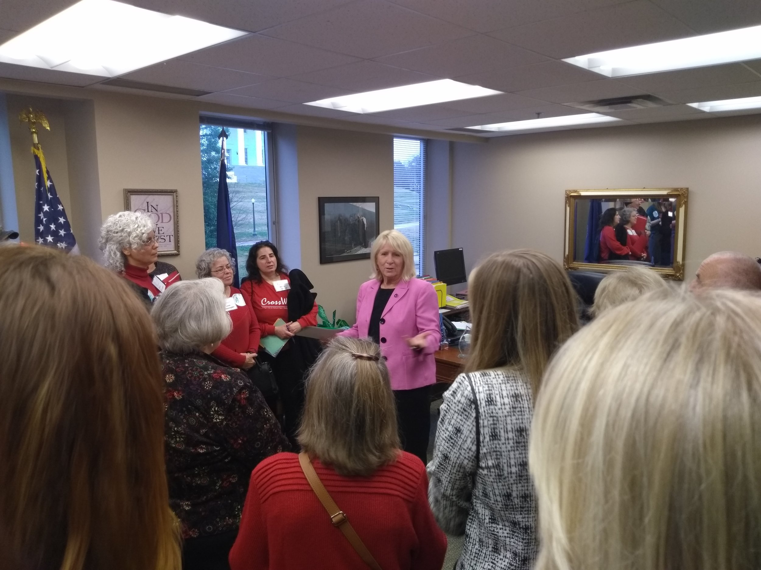 A whole crowd gathered in Delegate Kathy Byron's office to thank her for opposing the ERA
