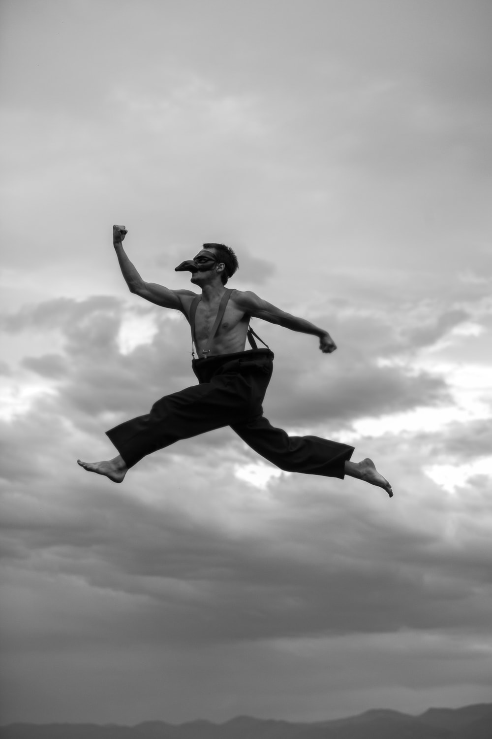 Black & White Commercial Photography of Man in Air Taken By the Professional Commercial Photographers at Harper Point.