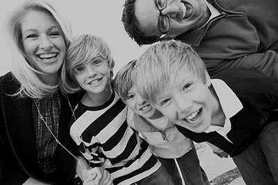 Black & White Family Portrait Taken By the Professional Family Photographers at Harper Point.