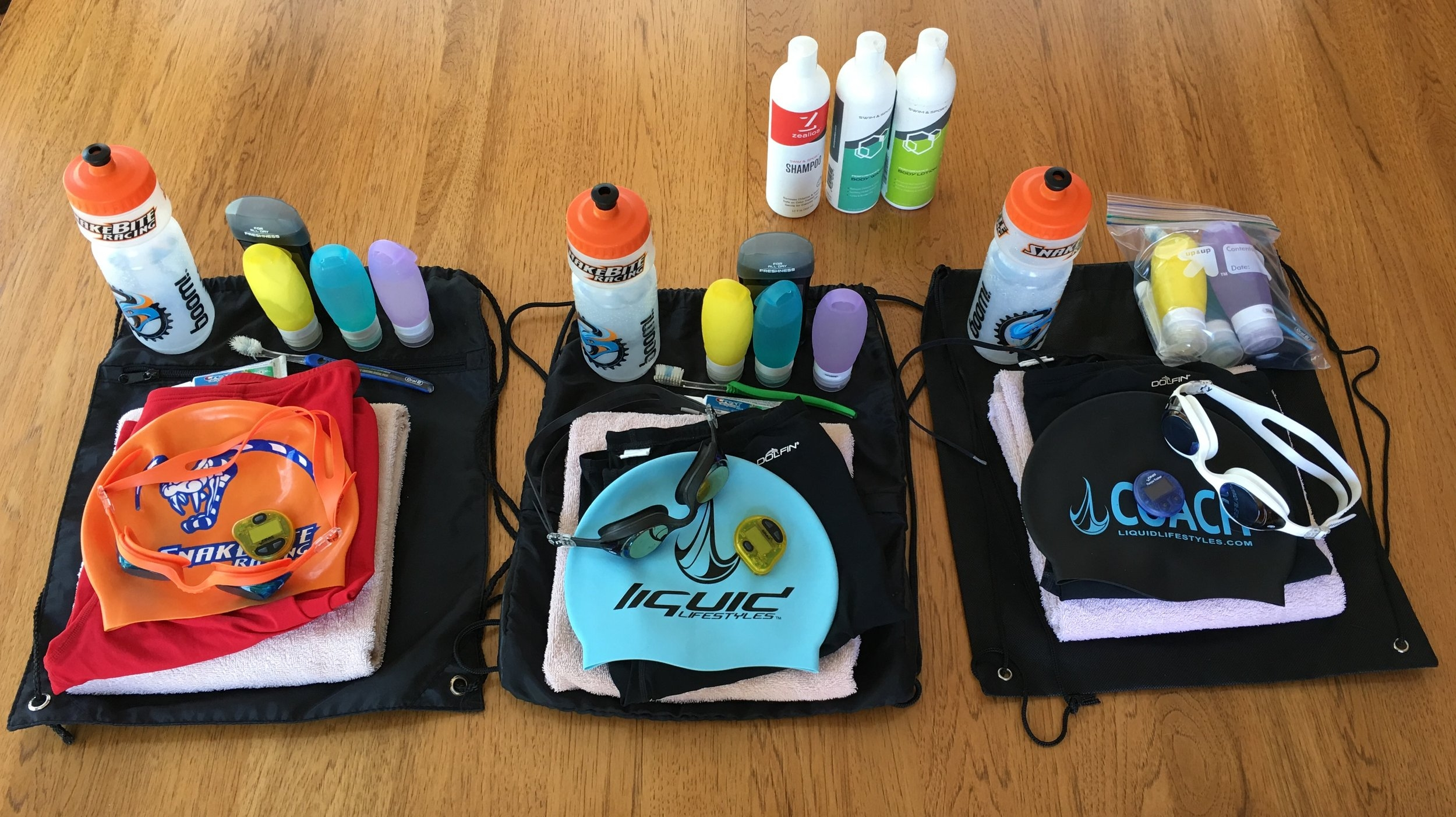 Three Fully Packed Swim Bags