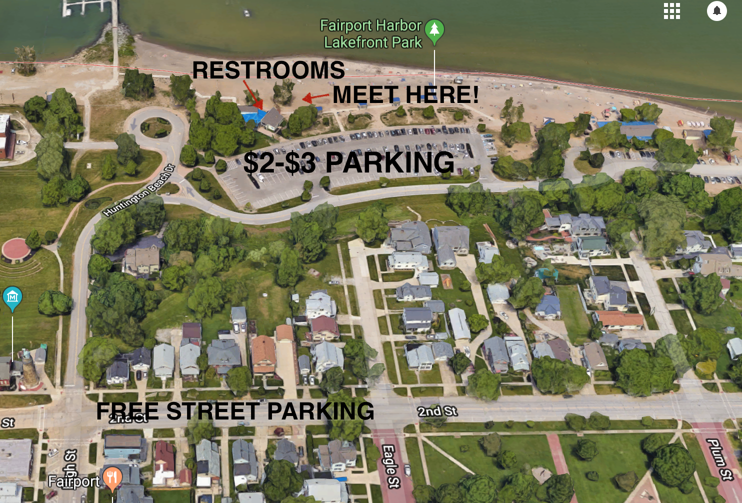 Pay to park right at the beach during summer season for $2 (Lake County residents), $3 for out of county. There is free street parking on 2nd Street which is a short walk away (2 min). There are restrooms and changing stalls between the shore and the parking lot. Meet your coach outside of the farthest West restrooms.