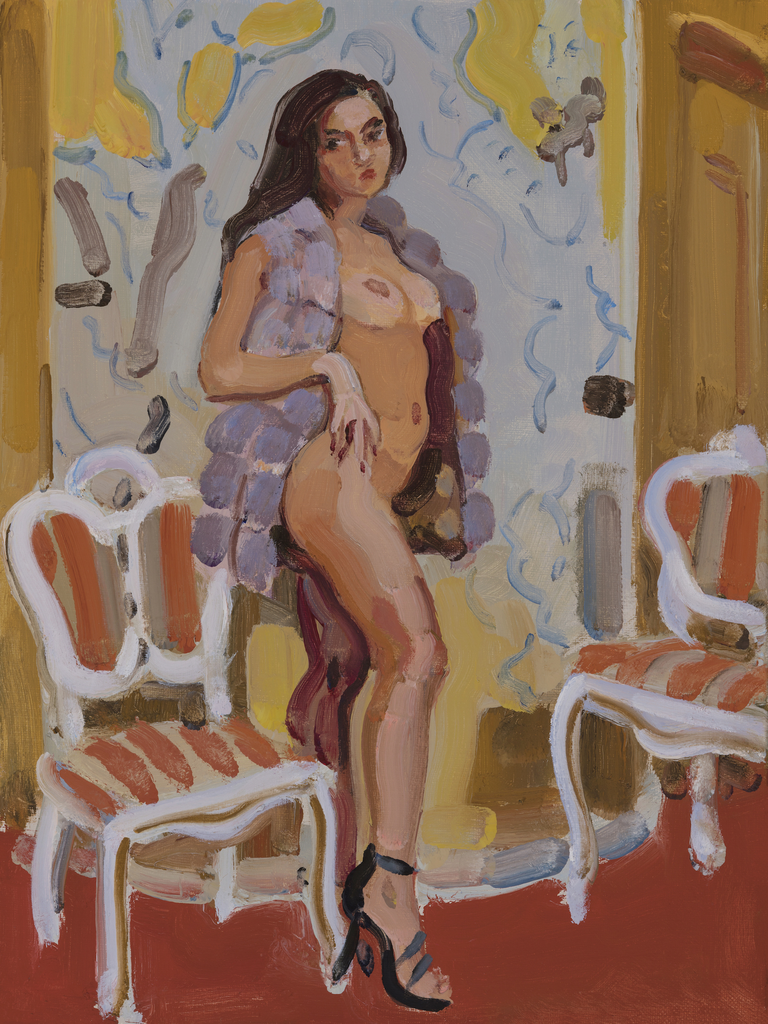 Nude with Two French Chairs
