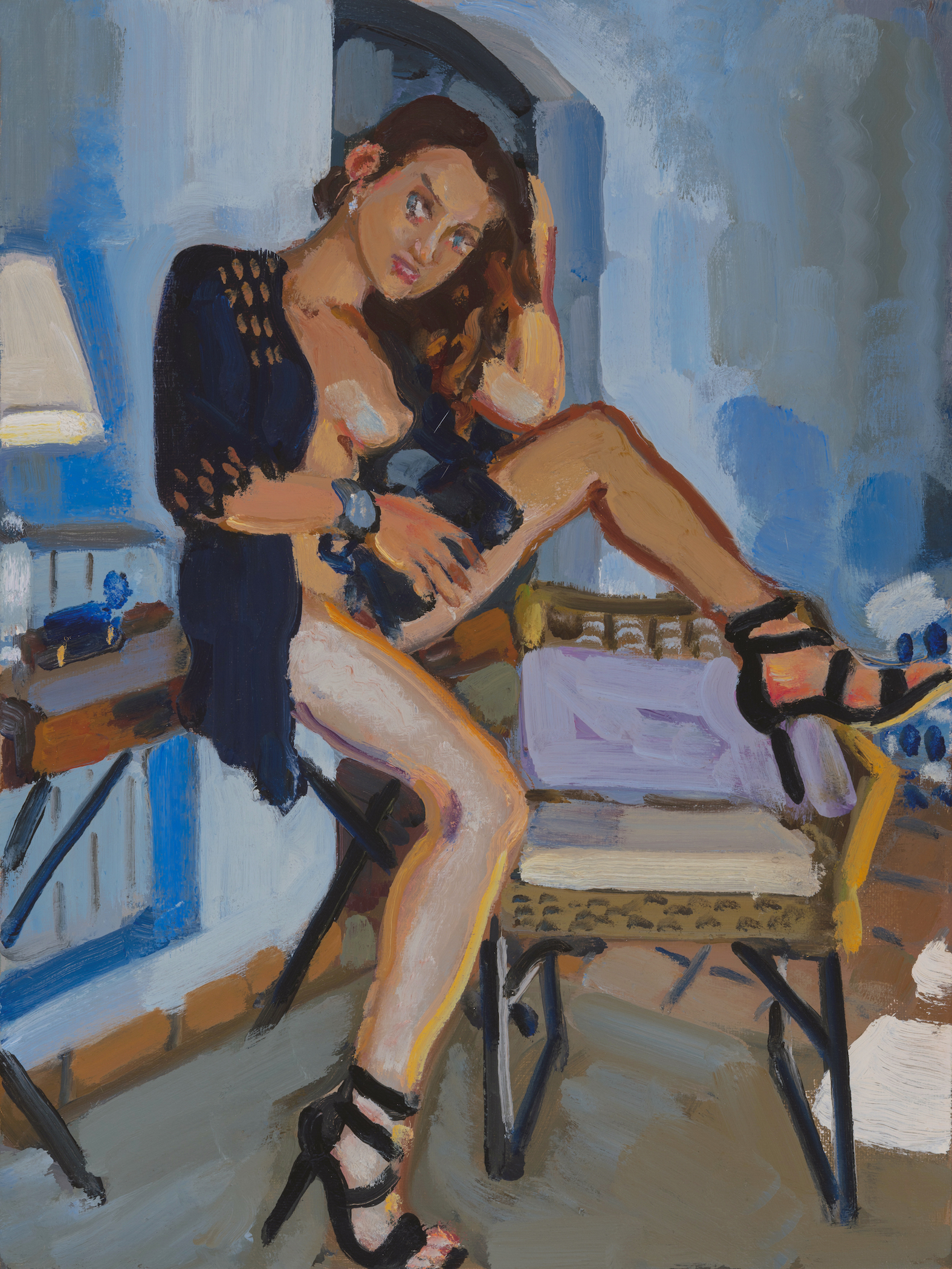 Nude with Blue Jacket and Black Shoes