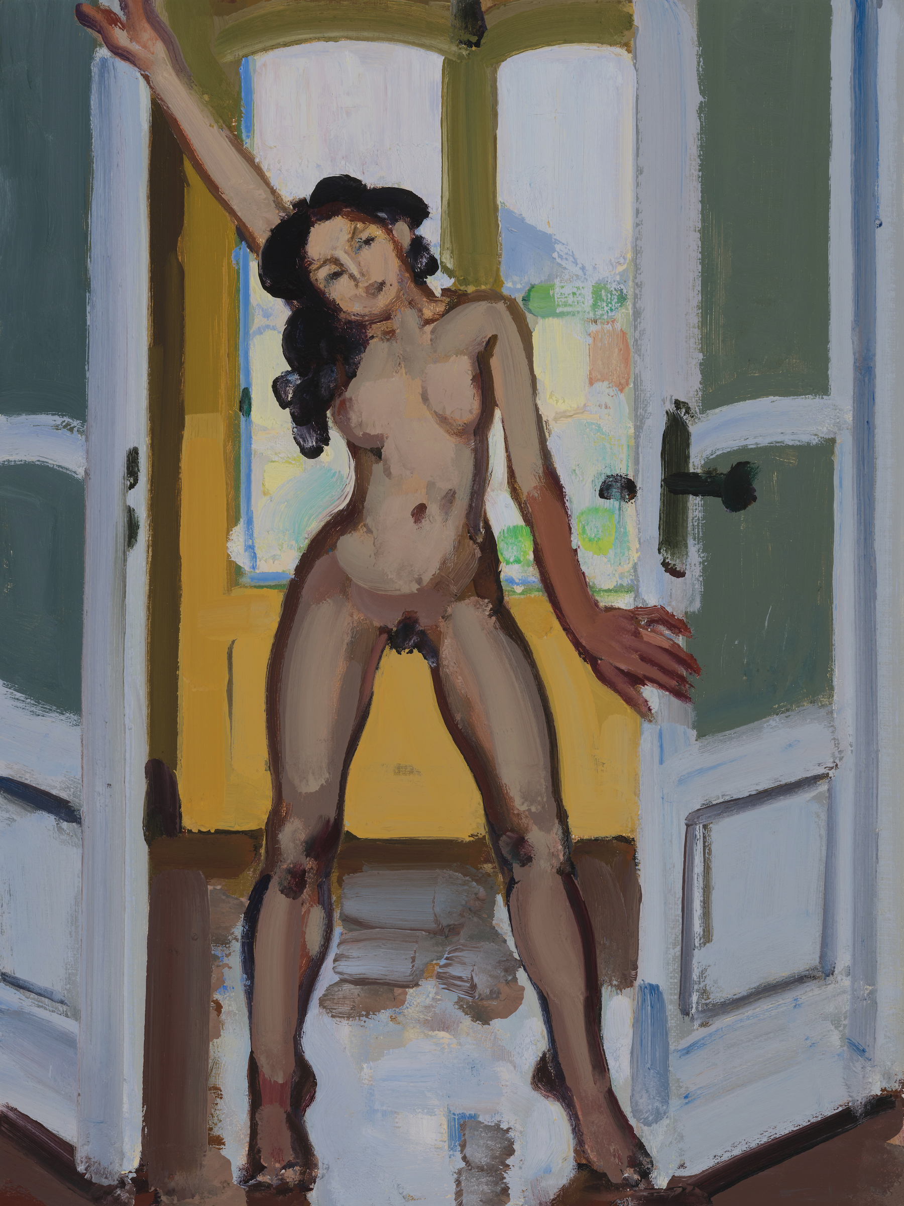 Nude standing with Legs Apart in French Door