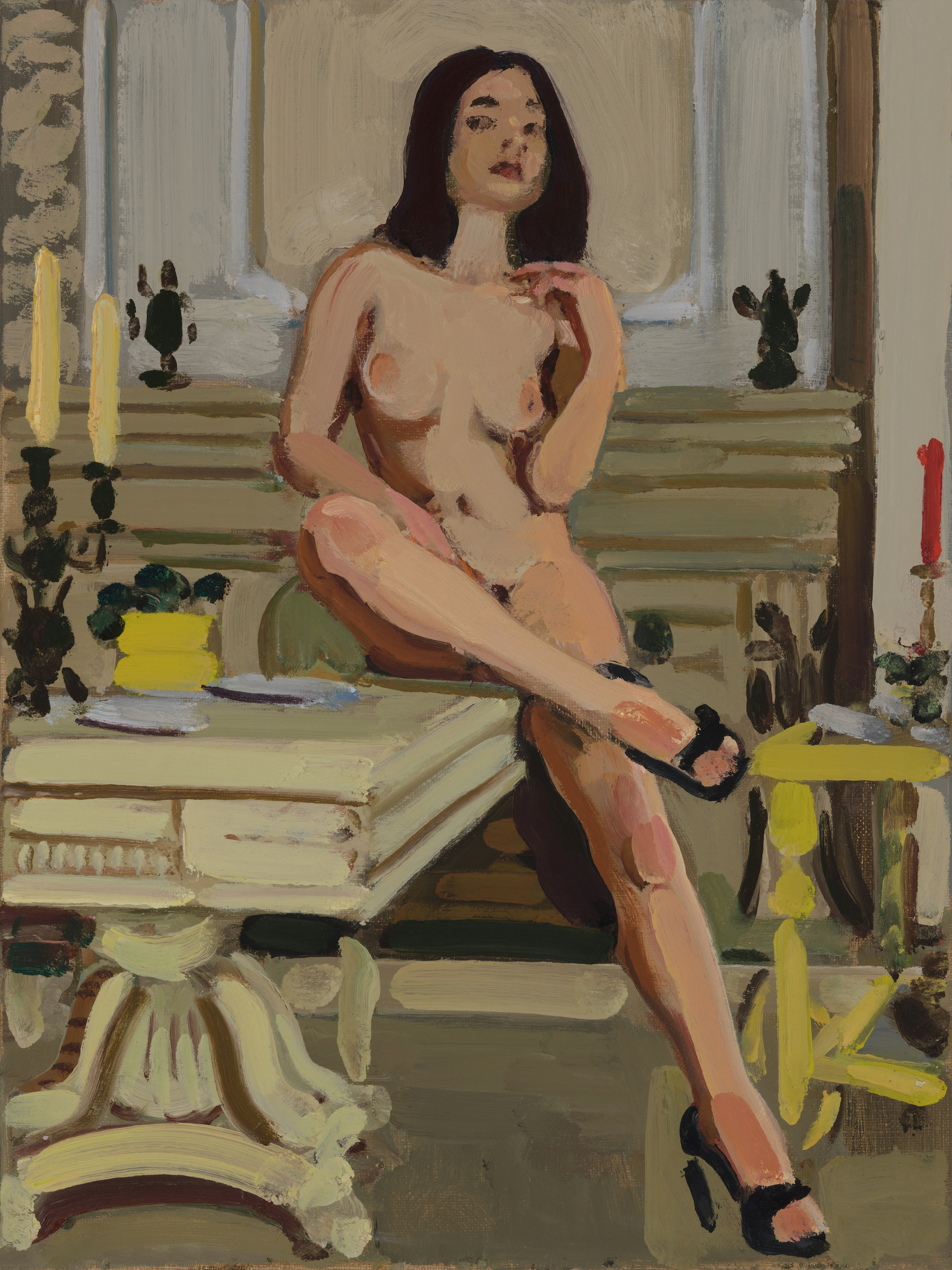 Nude with Fireplace and Table