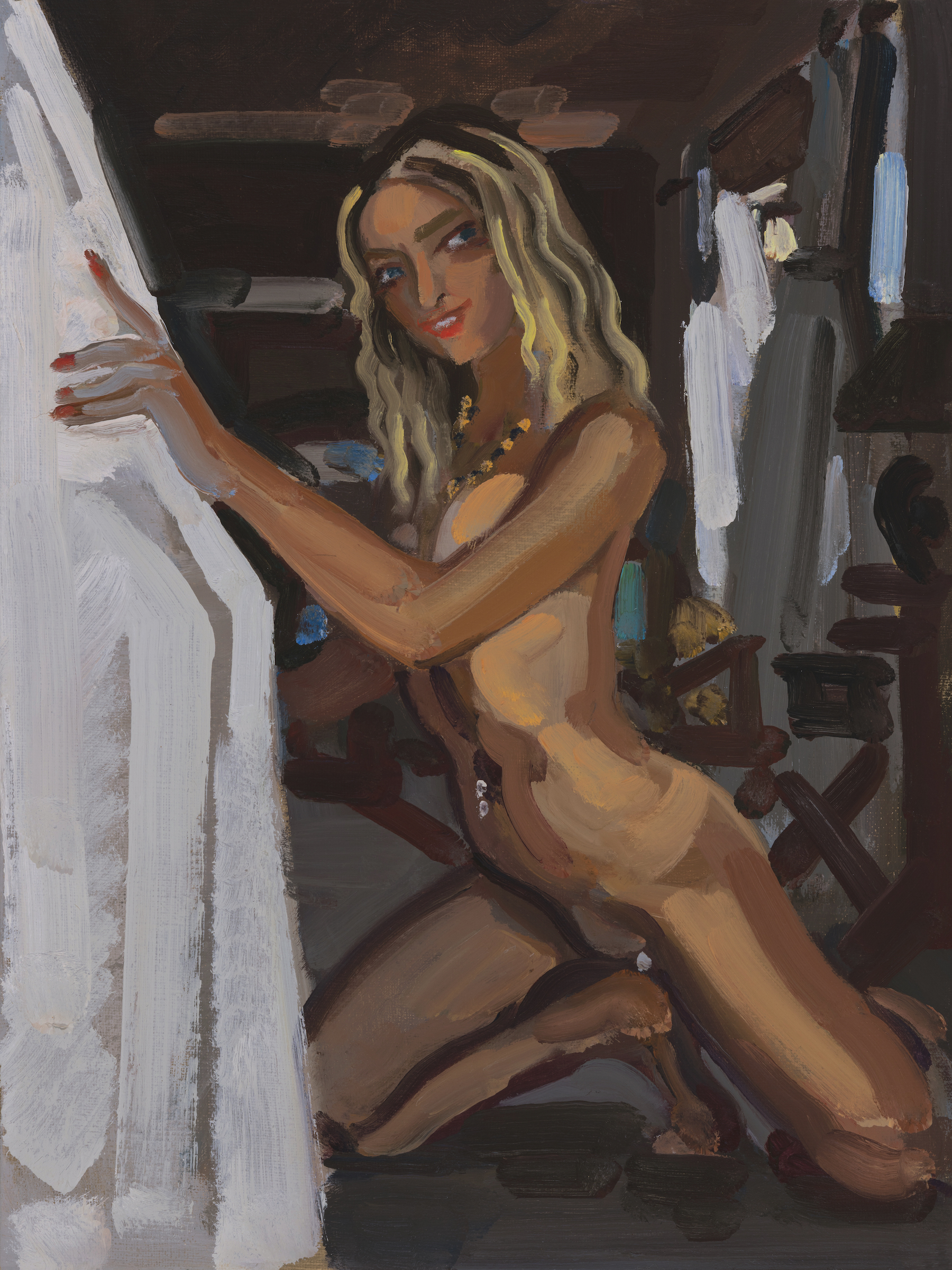 Nude with Tan and Crouching Down