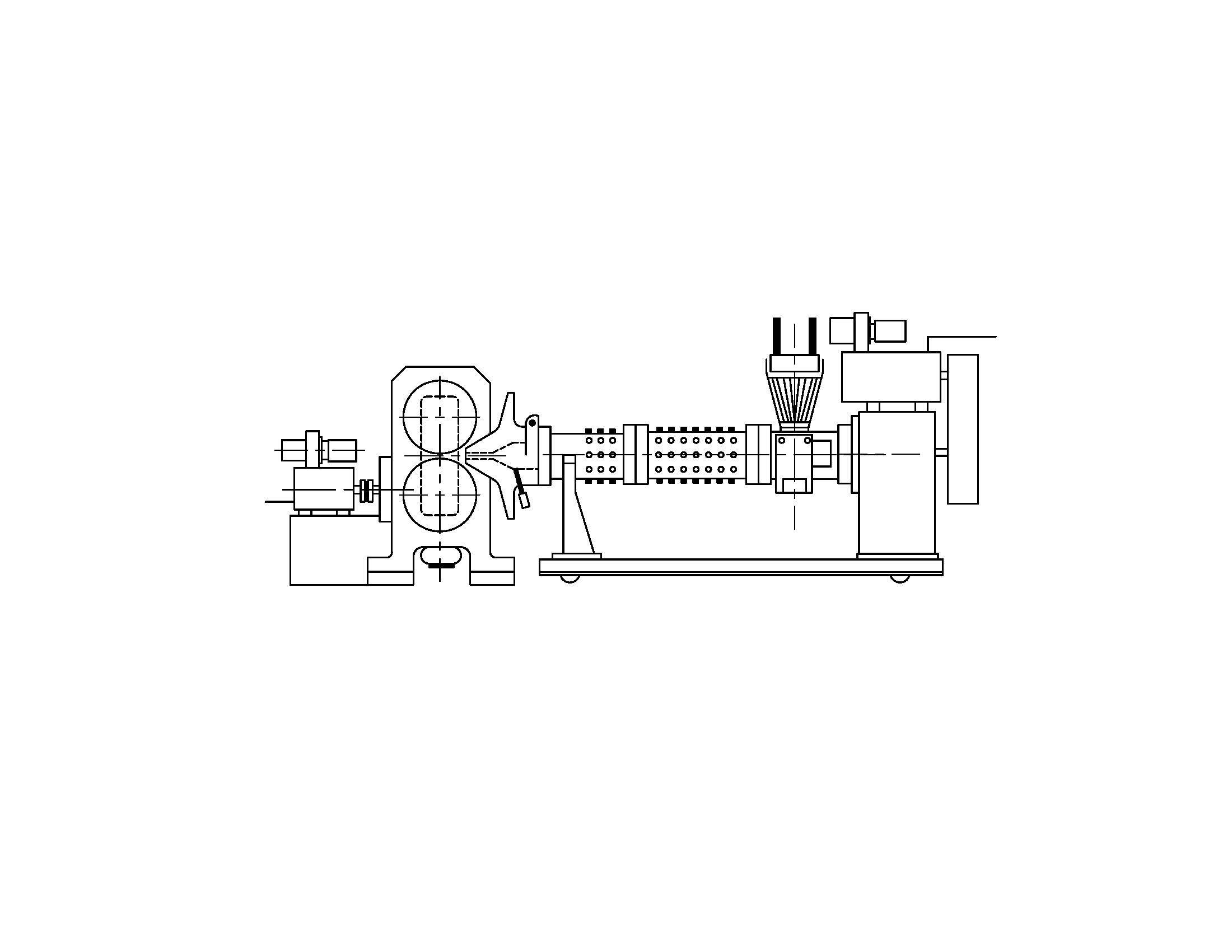 Overview of a roller-die extruder feeding a two-roll calender