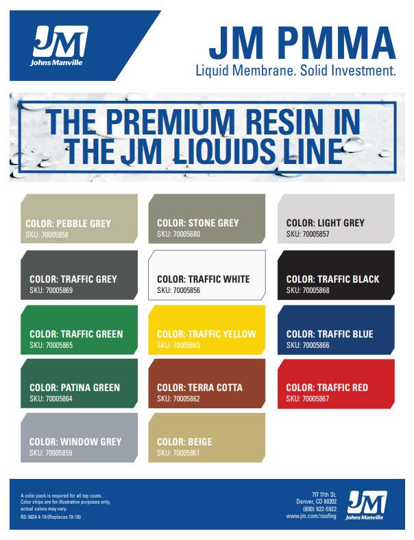 JM PMMA Top Coat and Textured Top Coat Color Chart
