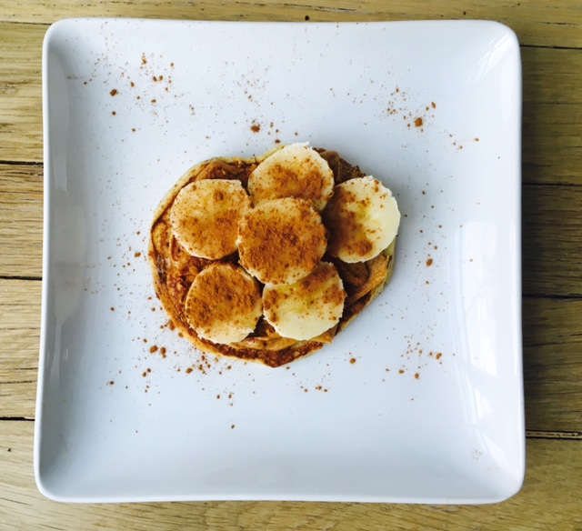 Almond, coconut pancake    with cashew butter, honey, bananas and cinnamon.