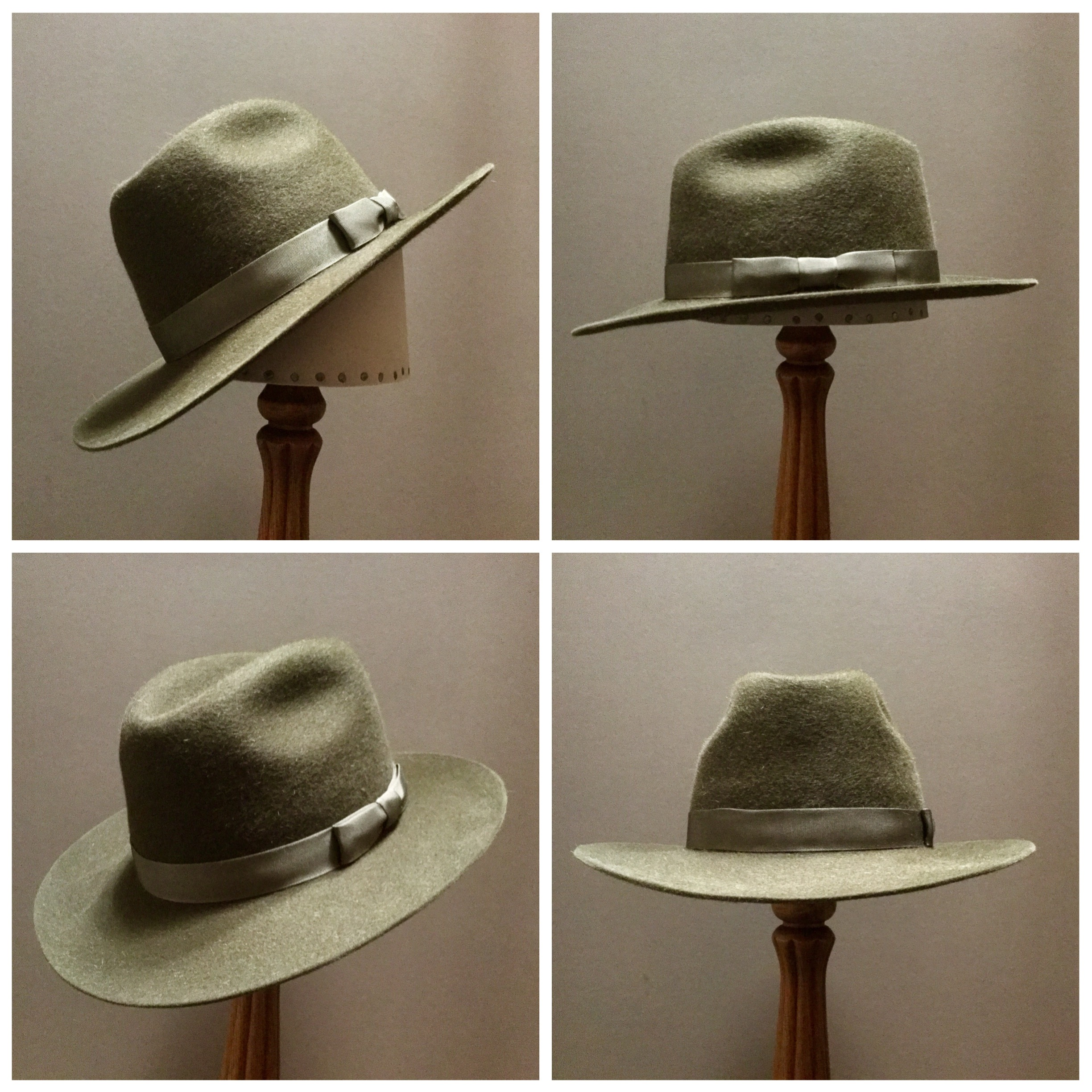 Material: 100% Beaver Color: Dark Moss Open Block: Pledge Brim Set/ Width: #76? 2 7/8 inches Trim: 7/8 inch Grosgrain Ribbon with Pleated Bow