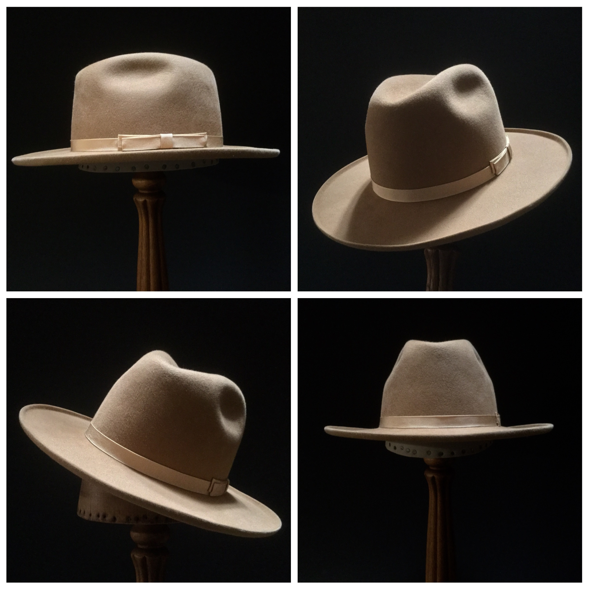 Material: 50% Wild Hare, 50% Beaver Color: Camel Open Block: Pledge Brim Set/Width: Naturalist with 45 degree Brim Curl/ 3 1/8 inches Trim: 3/4 inch Grosgrain Ribbon with Double Double Back Bow