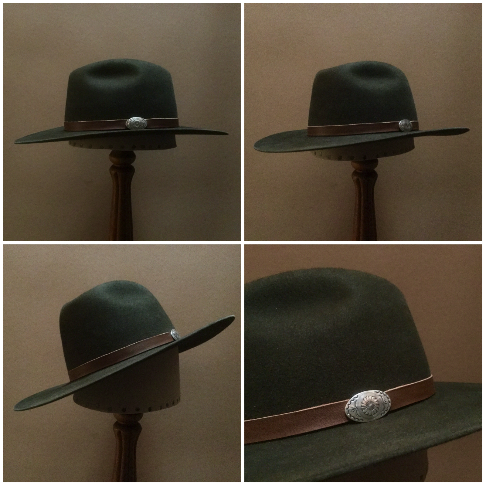 Material: 100% Rabbit Color: Forest Green Open Block: Pledge Brim Set/ Width: Naturalist/ 3 1/4 inches Trim: Leather with Sterling Silver Concha