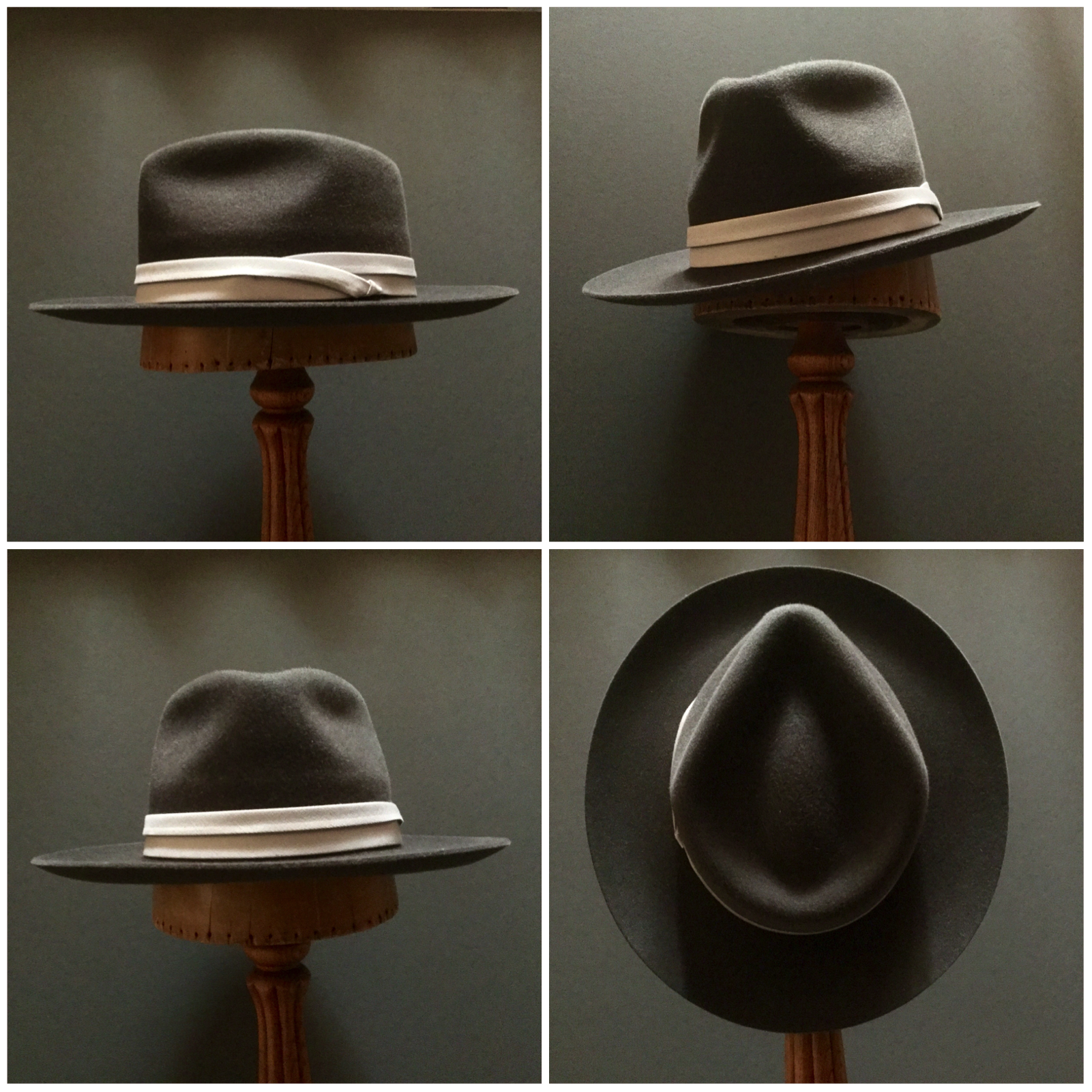 Material: 100% Rabbit Color: Dark Brown Open Block: Pledge Brim Set/ Width: Round Up/ 2 7/8 inches Trim: Puggaree