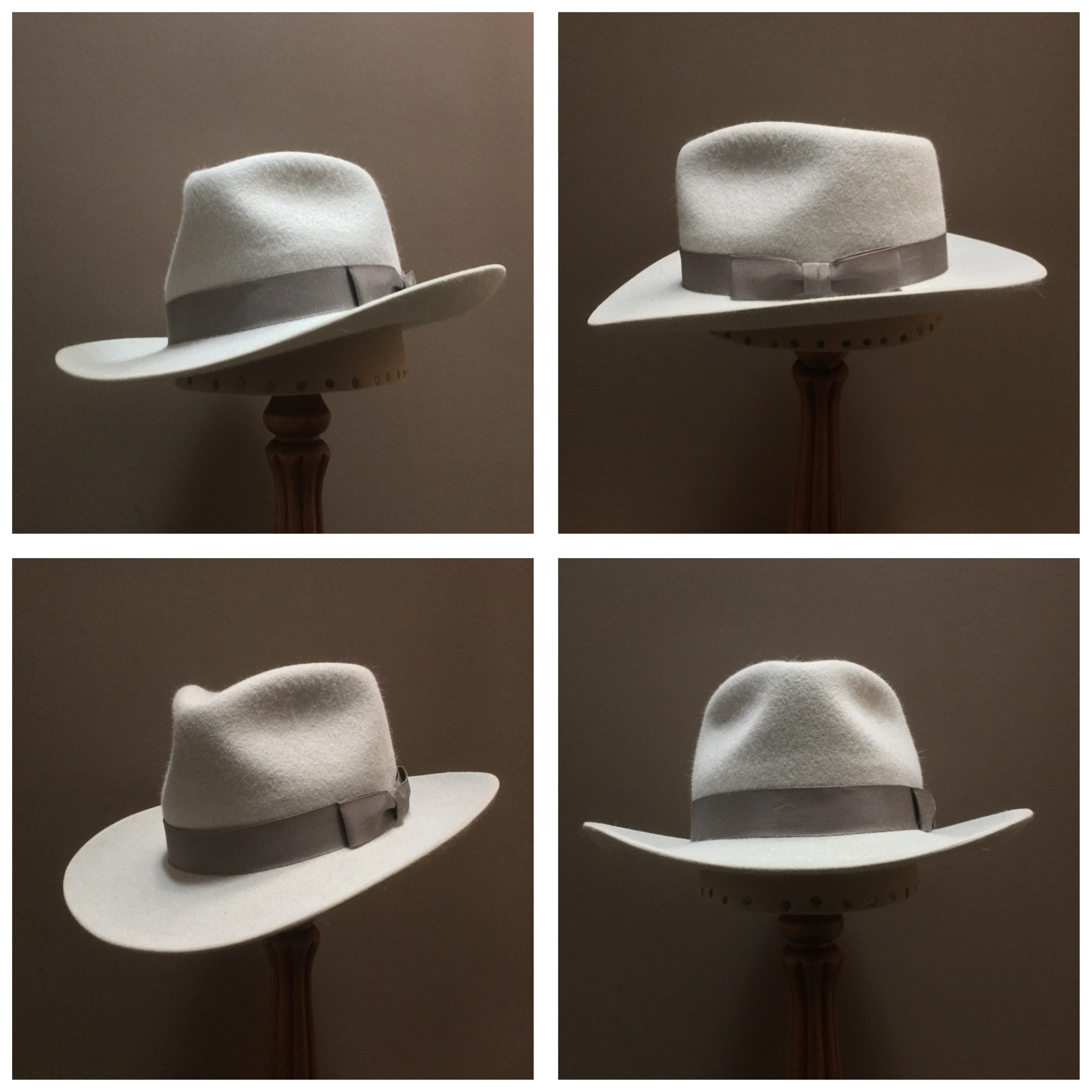 Material: 100% Rabbit Color: Powder Blue Open Block: Pledge Brim Set: Round Up/ 2 7/8 inches Trim: 1 1/2 inch Grosgrain Ribbon with Pleated Bow