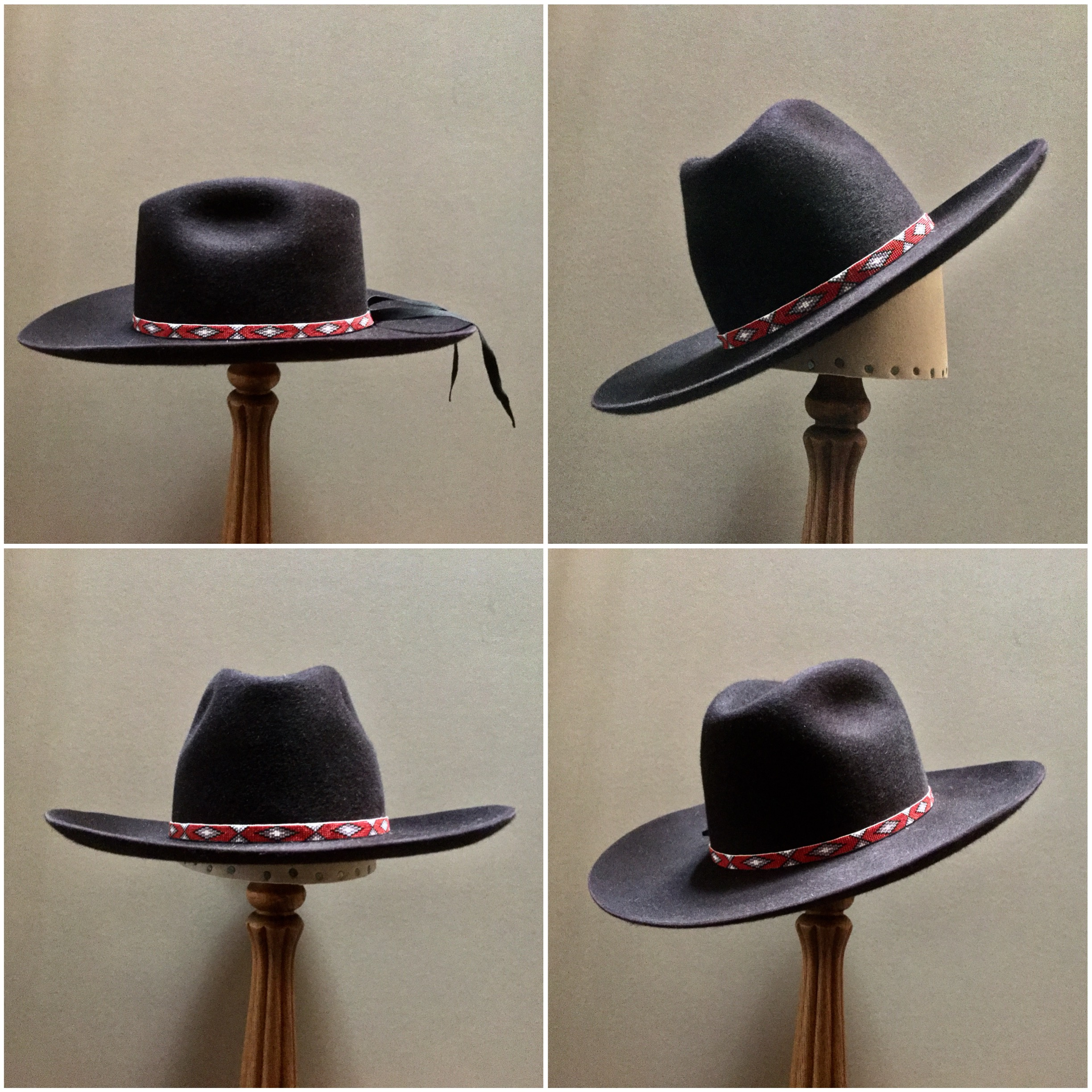 Material:100% Beaver, Tall Crown Color: Black Cherry Brim Set: #76, Off the Face Trim: Beaded Navajo Band