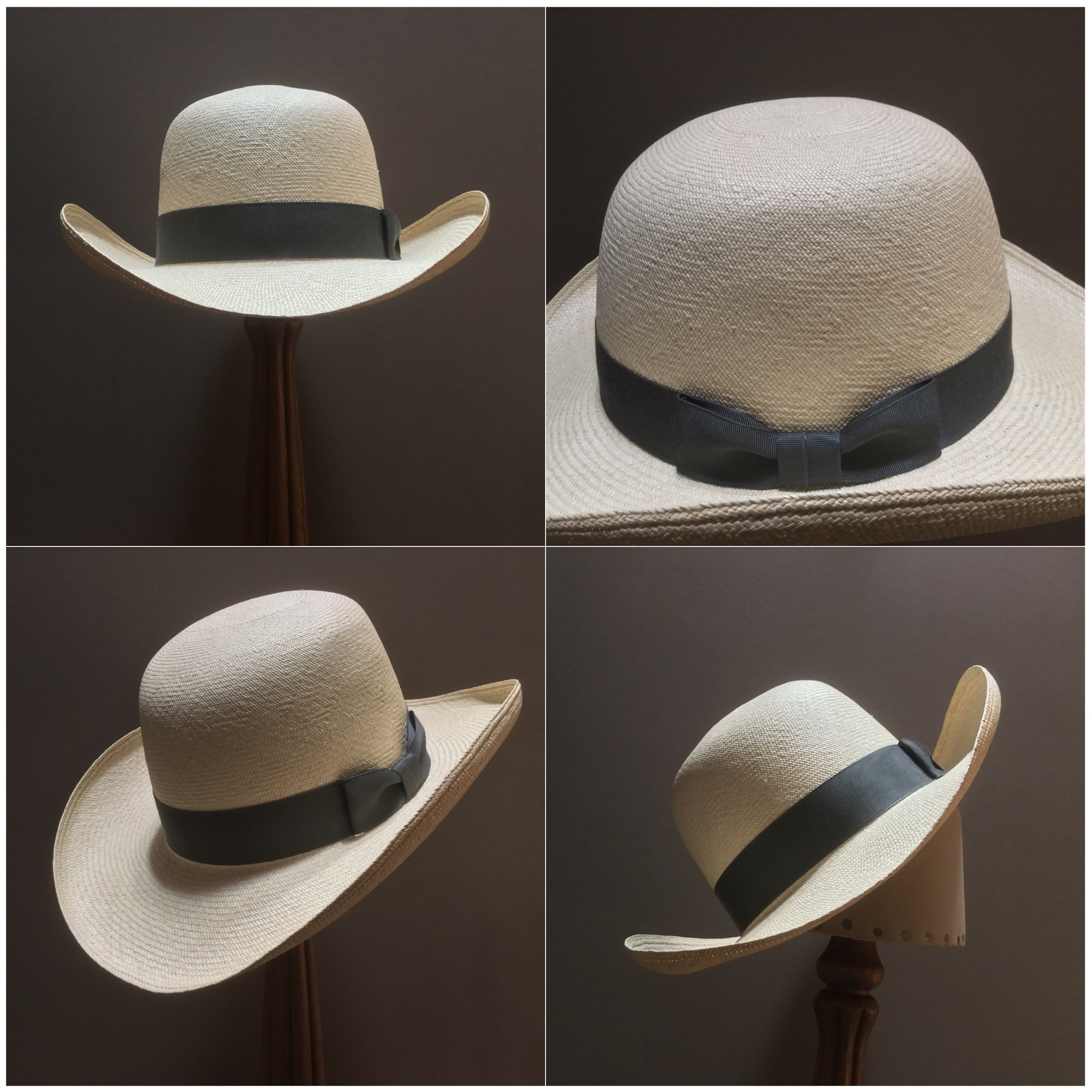 Weave: Cuenca Grade: 14/16 Brim Set: 90 Degree Curl Trim: 1 1/4 Inch Grosgrain Ribbon with Pleated Bow