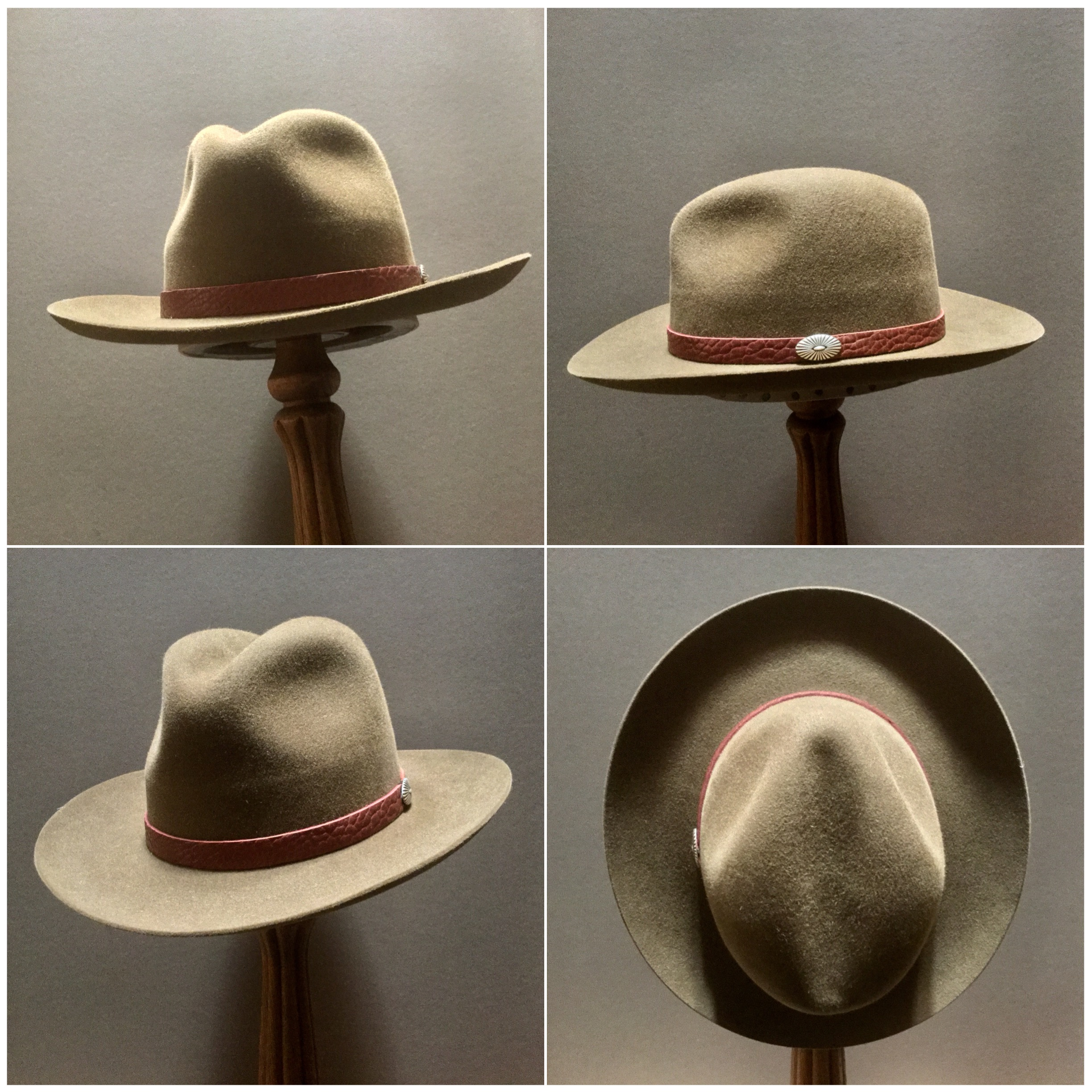 Material: 100% Rabbit Color: Whiskey Brim Set: Round Up Trim: Leather with sterling silver concha