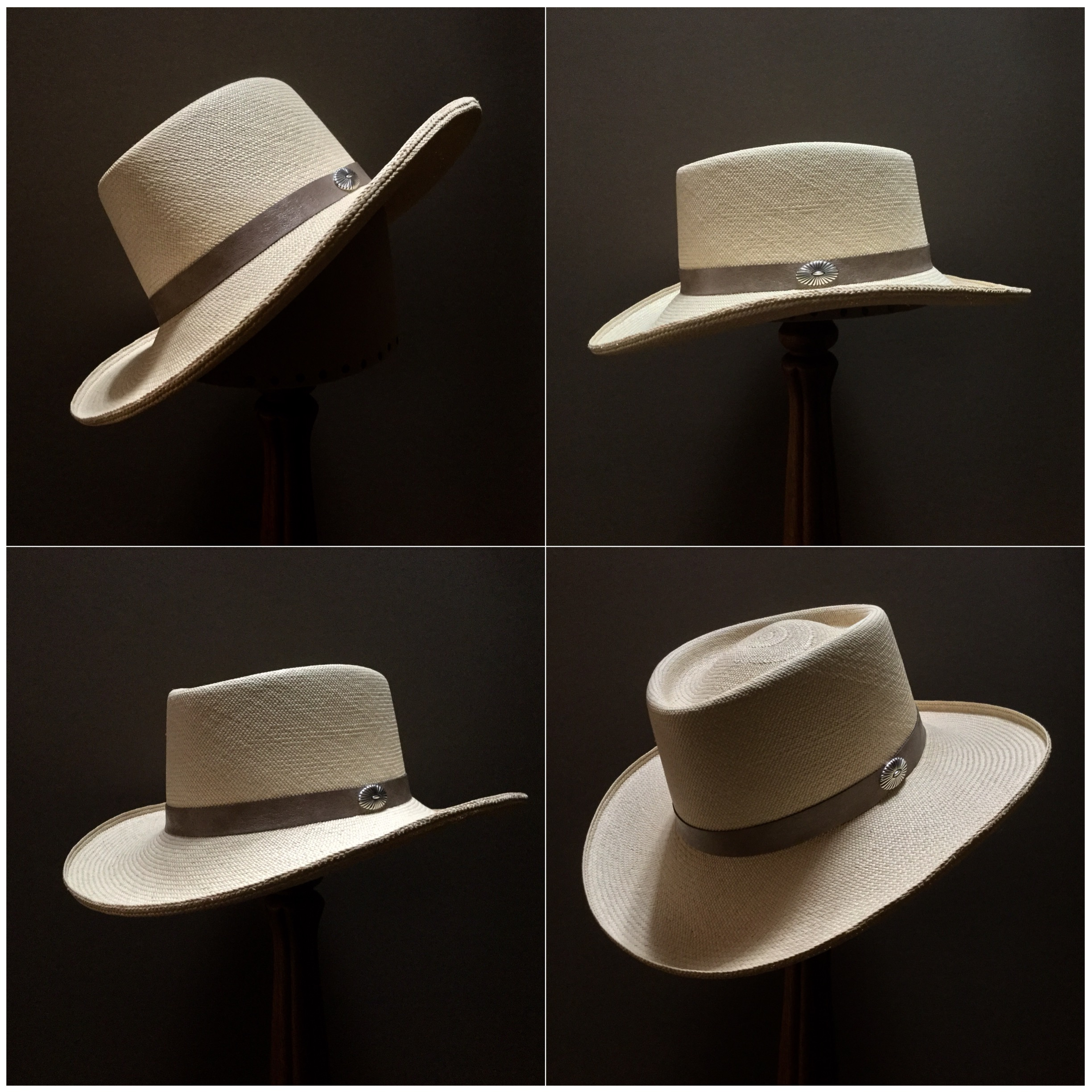 Weave: Cuenca Grade: 14/16 Brim Set: Naturalist with micro curl Trim: Leather with sterling silver concha