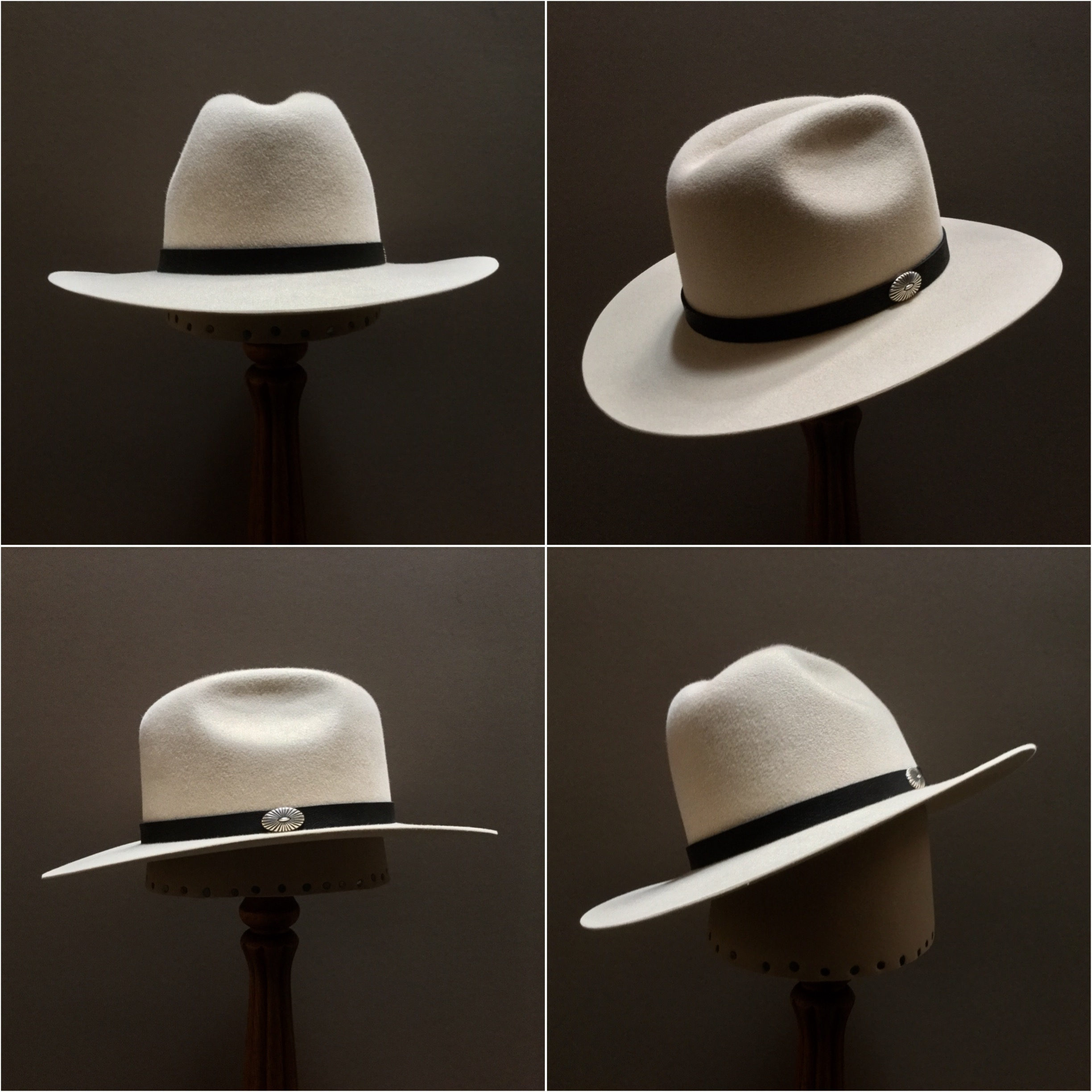 Material: 100% Beaver Color: Bone Open Block: CH Brim Set/Width: San Ann/ 3 inches Trim: Leather with sterling silver concha