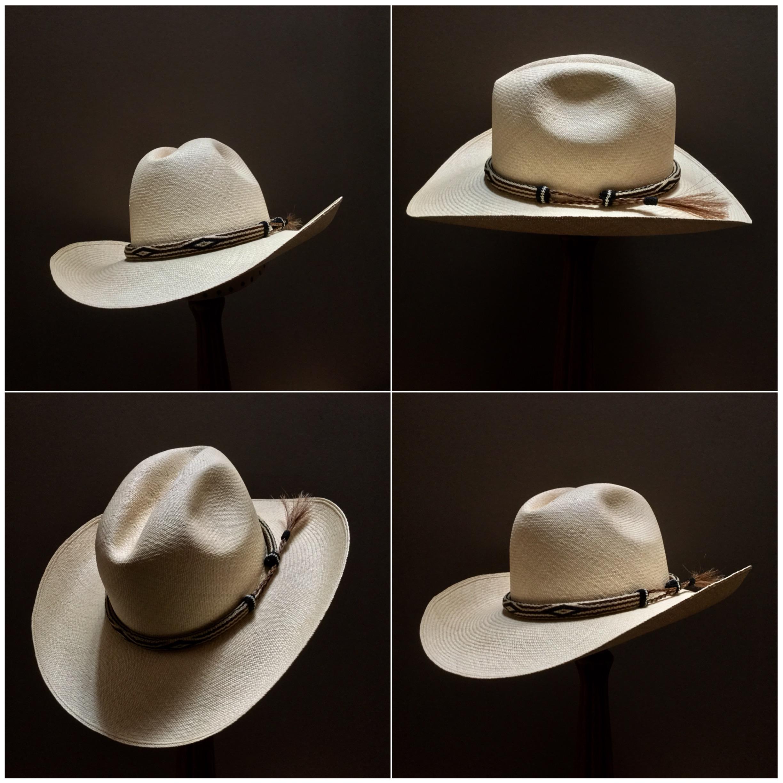 Weave: Cuenca Grade: 12 Open Block: #44 Brim Set/Width: Vogue/ 3 5/8 inches Trim: Hitched Horsehair
