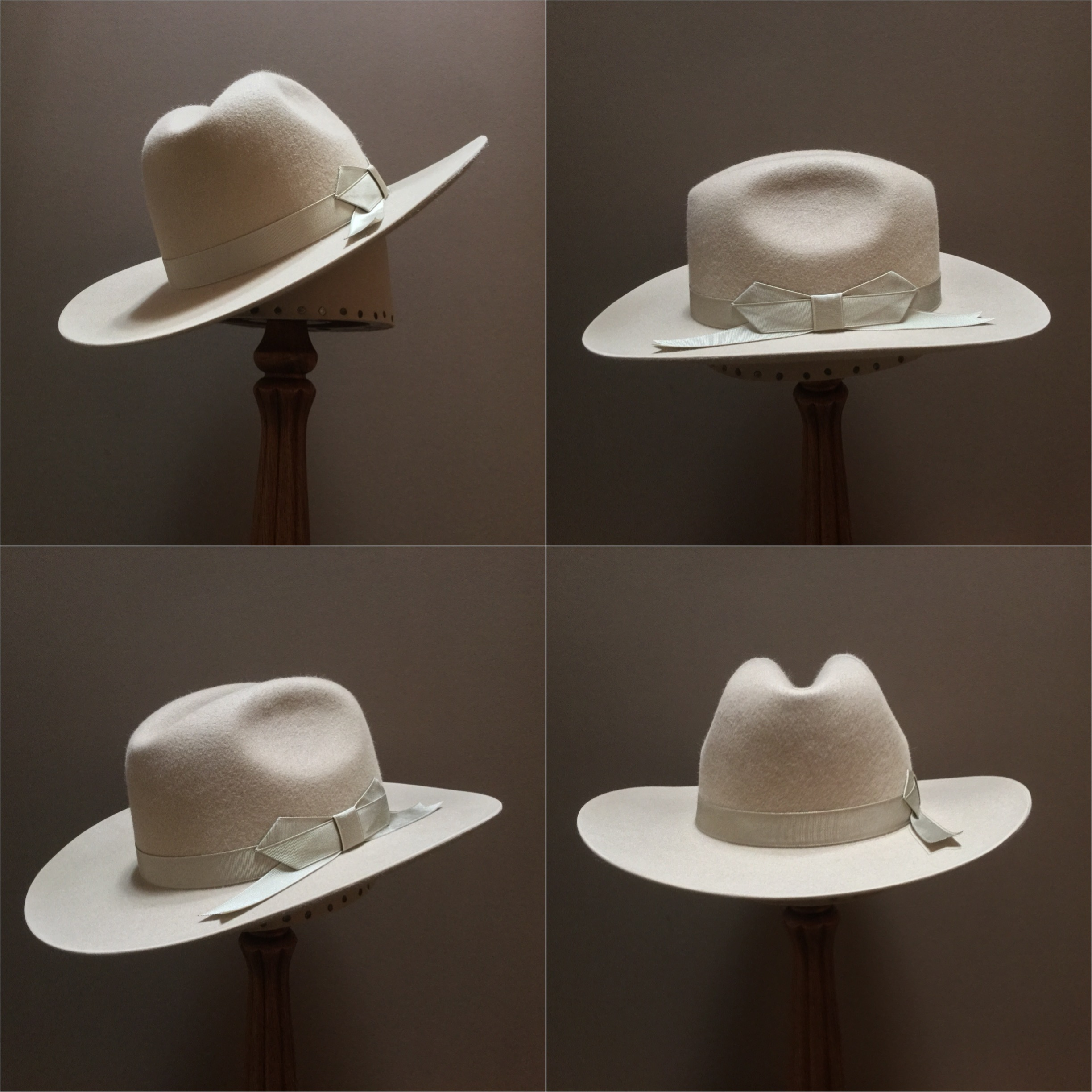 Material: 100% Beaver Color: Sand Open Block: Center X Brim Set/Width: #76/ 3 1/4 inches Trim: 7/8 inch grosgrain ribbon with pointed bow