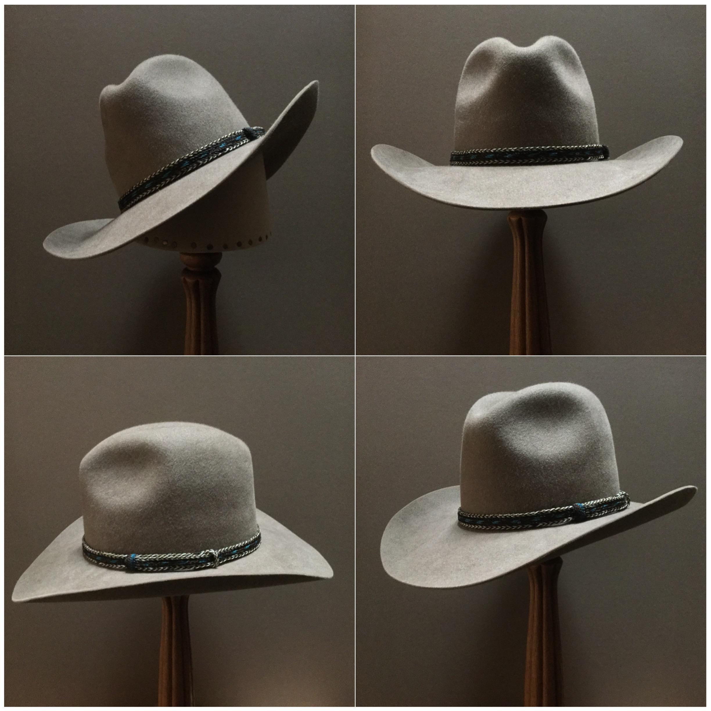 Material: 100% Beaver Color: Natural Open Block: #44 Brim Set/ Width: Vogue/ 3 9/16 inches Trim: Braided Horsehair