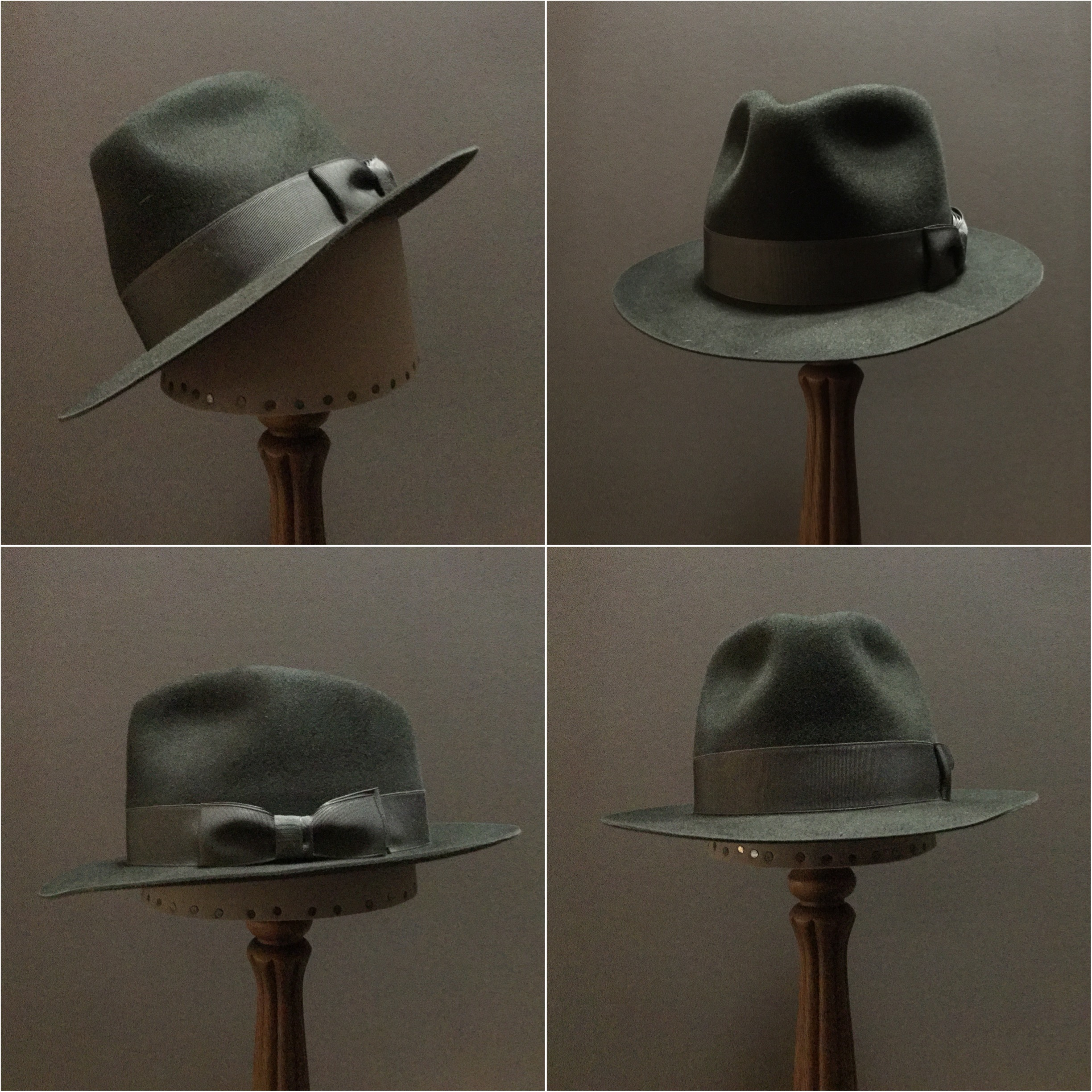 Material: 100% Beaver Color: Dark Moss Open Block: CH Brim Set/Width: #17 Cup and Snap / 2 1/4 inches Trim: 1 1/8 inch grosgrain ribbon with double-back pleated bow