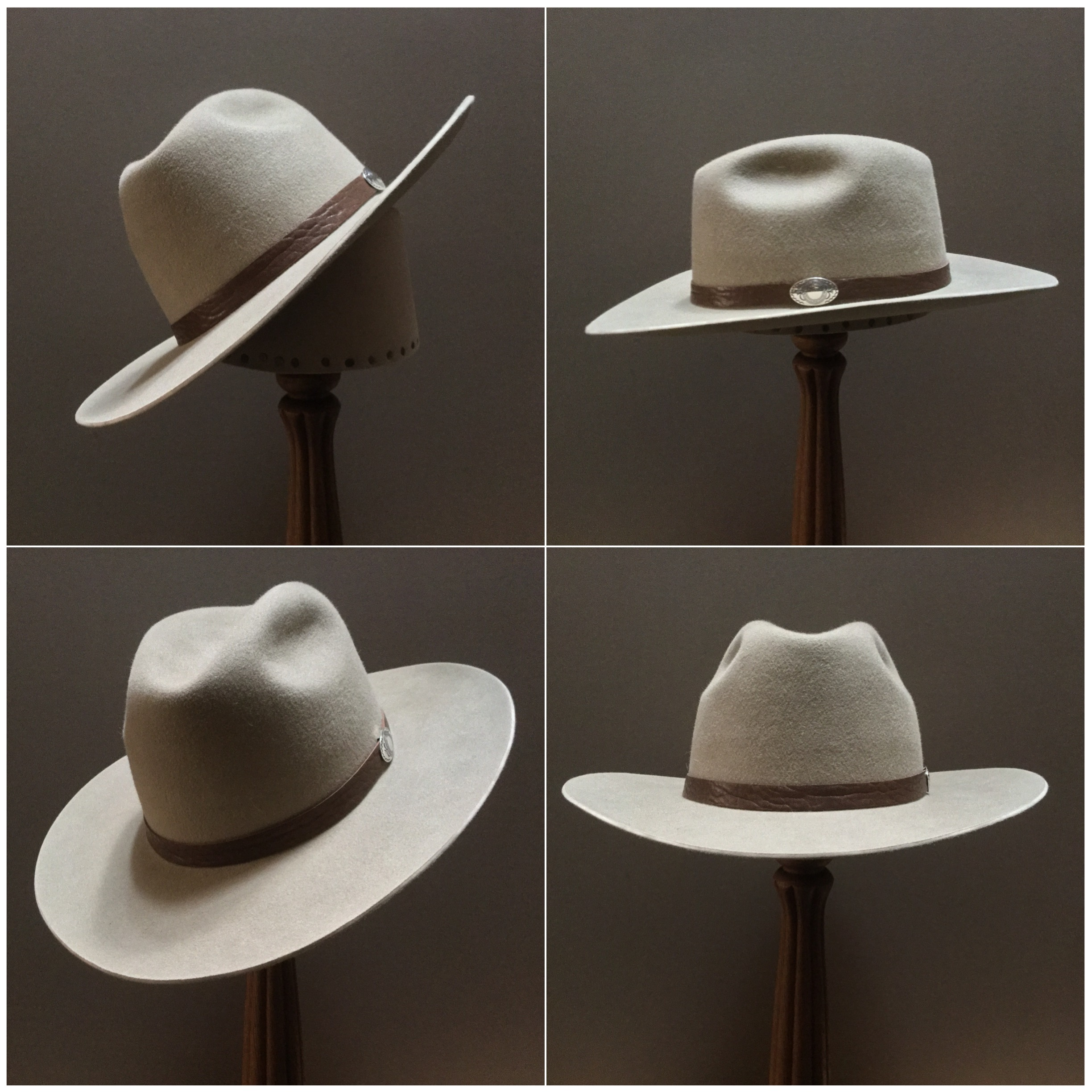 Material: 100% Beaver Color: Sahara Open Block: CH Brim Set/ Width: #76/ 3 1/4 inches Trim: Leather with sterling silver concha