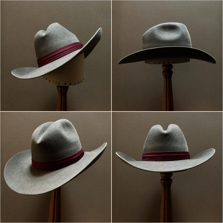 Material: 100% Rabbit Color: Granite Open Block: CH Brim Set/Width: Vogue/ 3 7/8 inches Trim: Puggaree