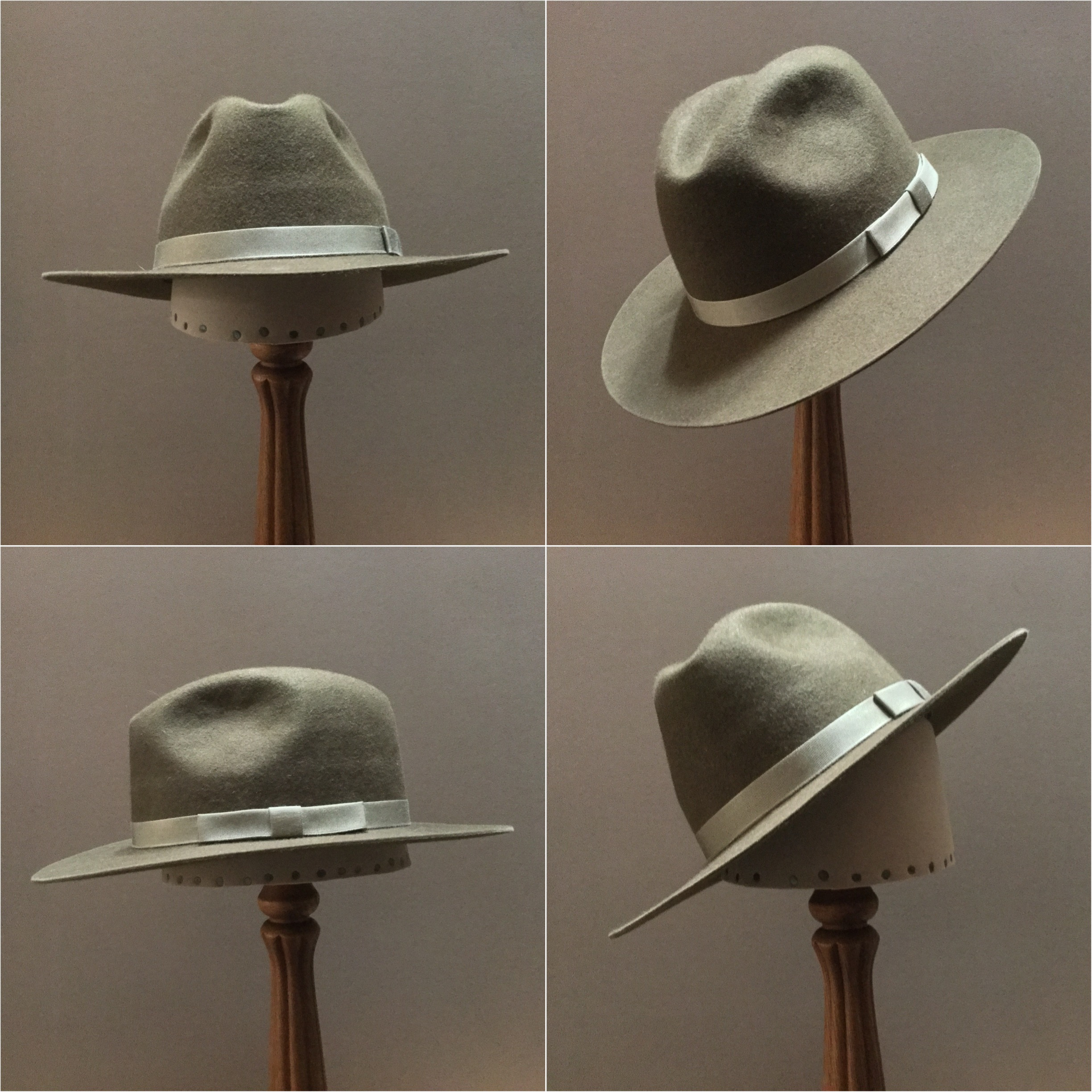 Material: 100% Beaver Color: Olive Drab Open Block: CH Brim Set/Width: #76/ 2 7/8 inches Trim: 3/4 inch Grosgrain ribbon with sport bow