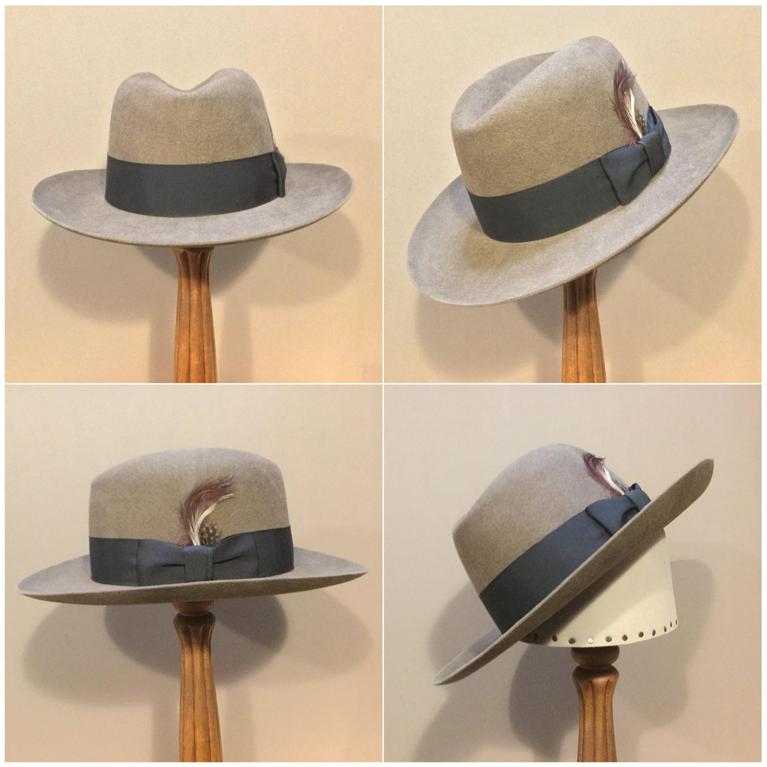 Material: 100% Beaver Color: Pecan Open Block: CH Brim Set/Width: Round Up/ 2 7/8 inches Trim: 1 3/4 inch Grosgrain ribbon with pleated bow and folded keeper