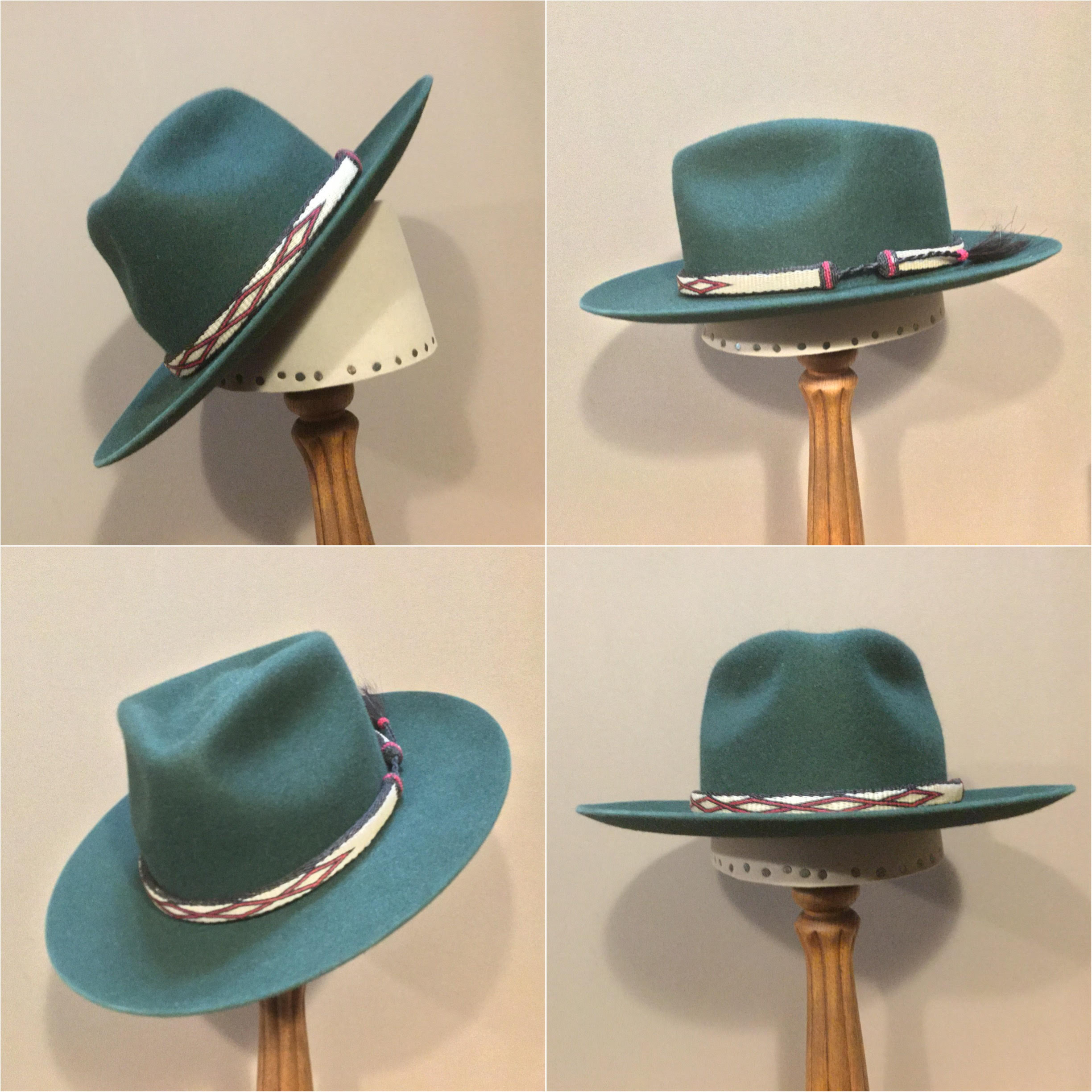 Material: 100% Rabbit Color: Forest Green Open Block: CH Brim Set/Width: San Fran/ 2 7/8 inches Trim: Hitched horsehair