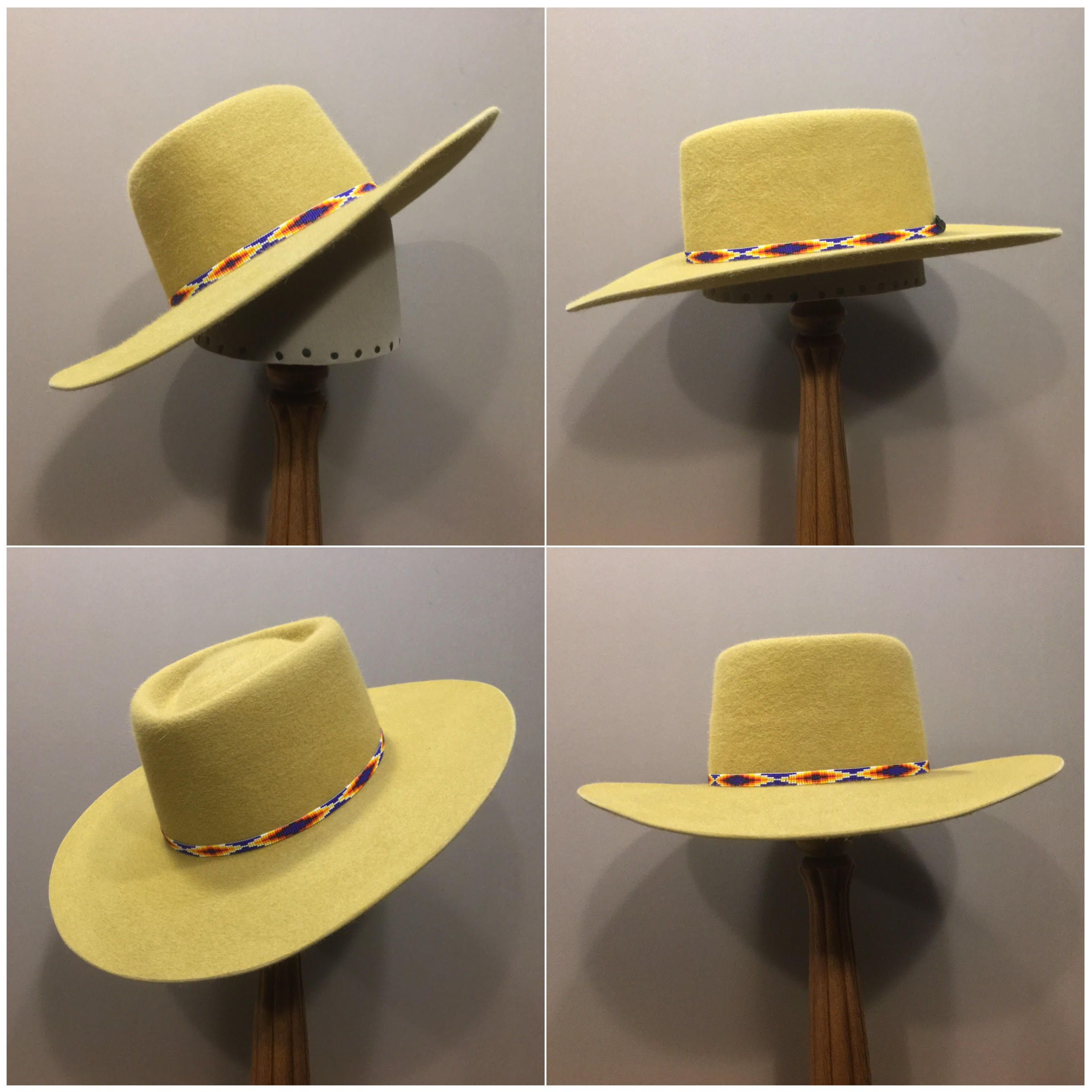 Material: 100% Rabbit Color: Gold Open Block: CH Brim Set: San Ann Trim: Beaded band