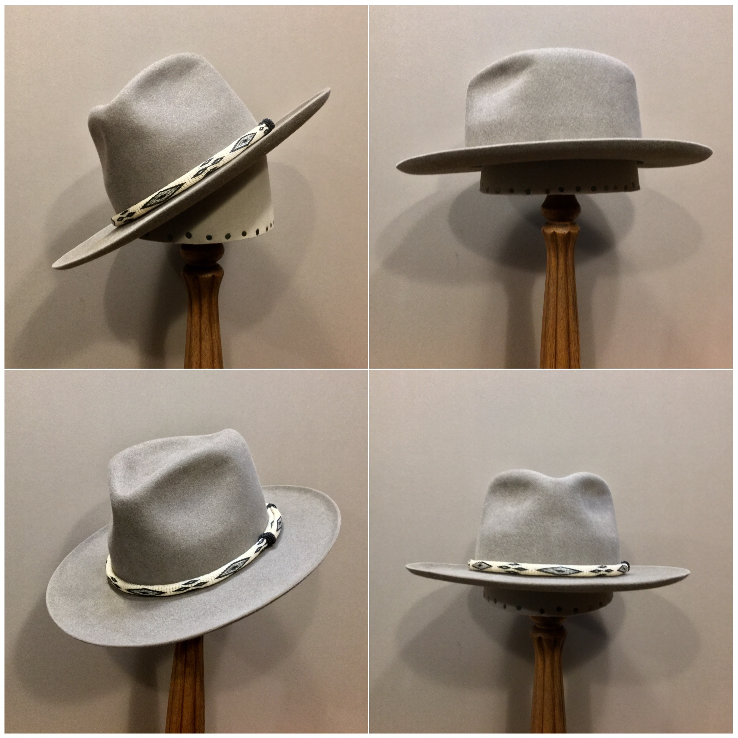 Material: 100% Beaver Color: Natural Open Block: CH Brim Set/ Width: San Fran with open 45 degree brim curl / 3 inches Trim: Hitched Horsehair