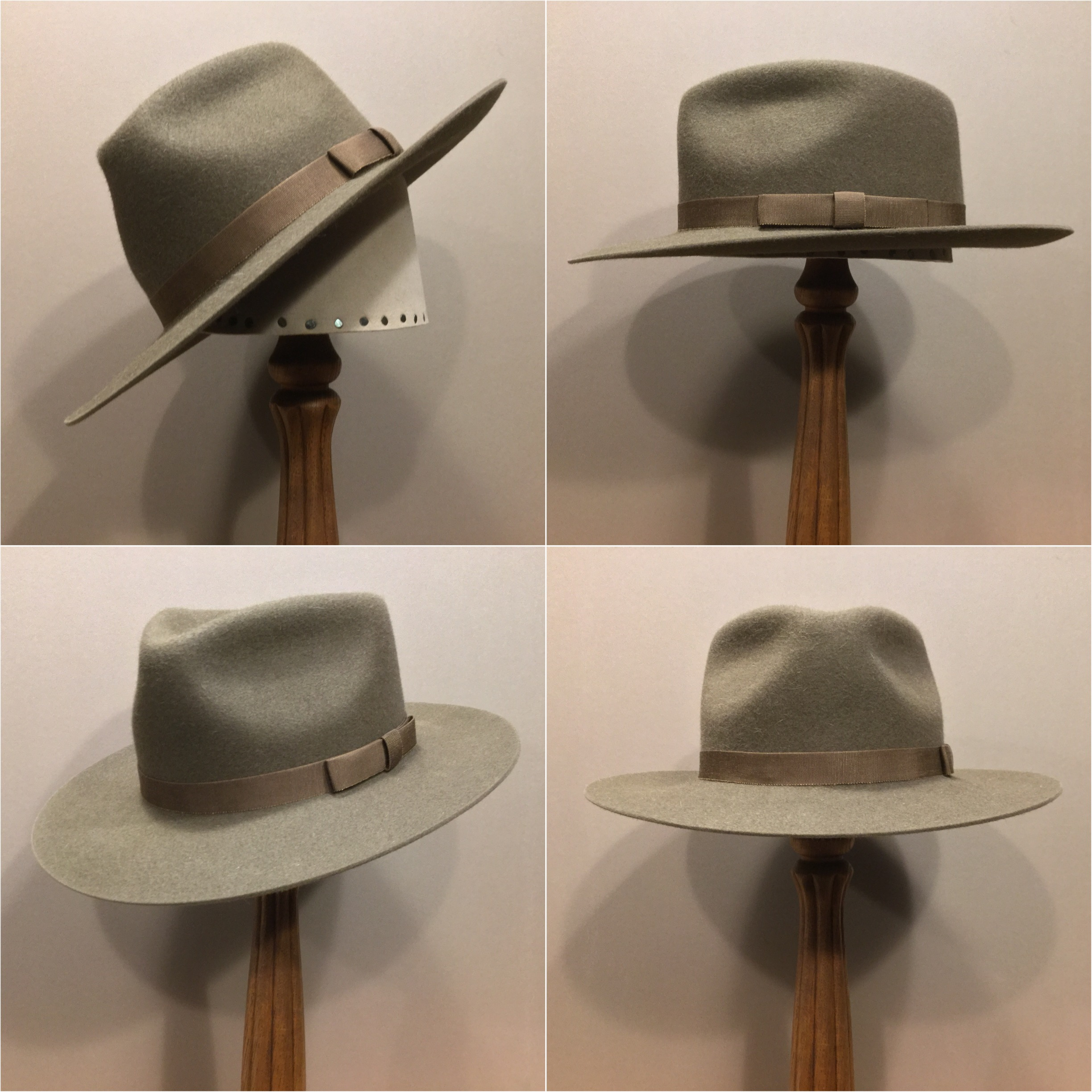 Material:100% Beaver Color: Pecan Open Crown: CH Brim Set/ Width: San Fran/ 2 7/8 inches Trim: Folded 1 1/2 inch grosgrain ribbon with sport bow