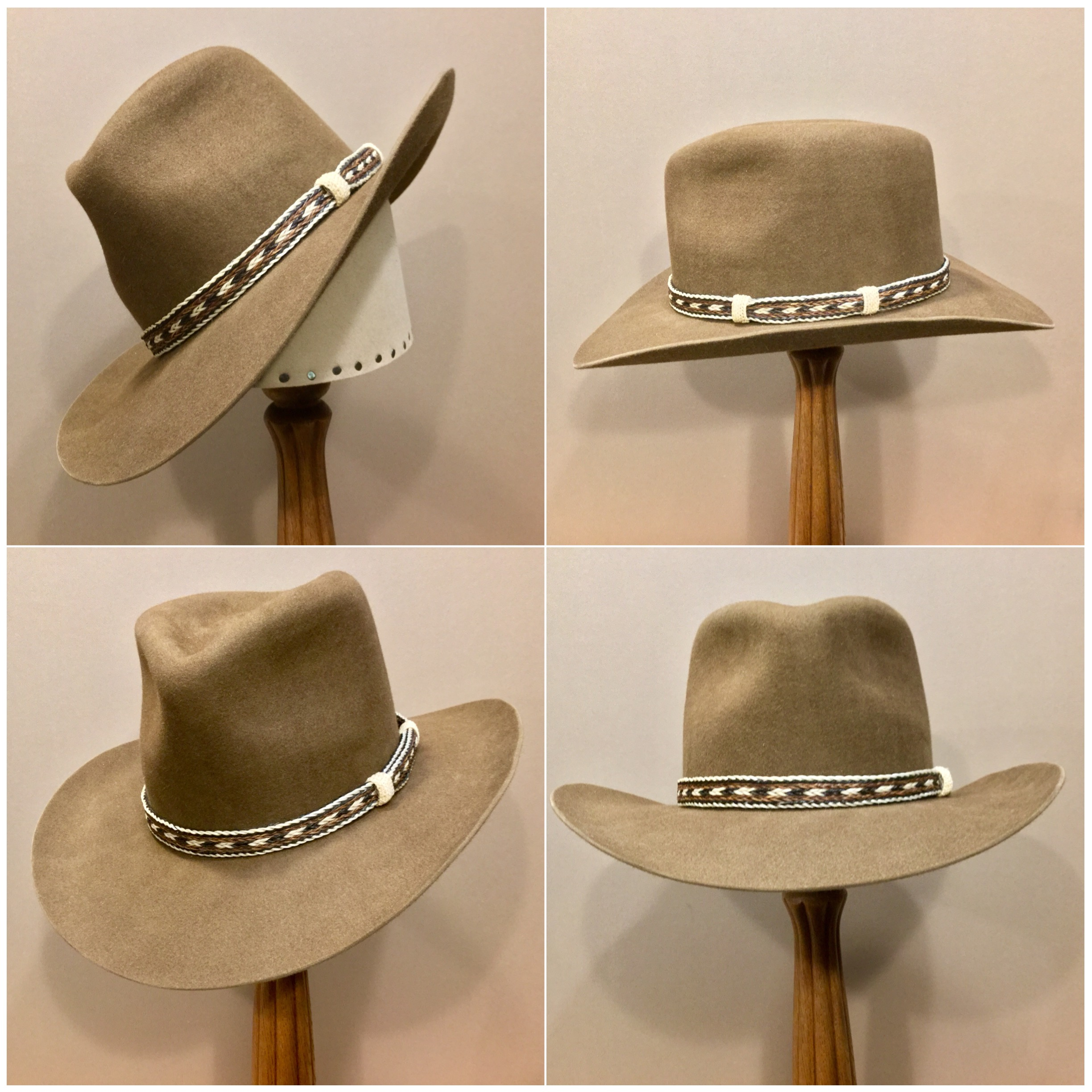 Material: 100% Beaver Color: Whisky Open Block: #44 Brim Set/ Width: Vogue/ 3 1/4 inch Trim: Braided horsehair