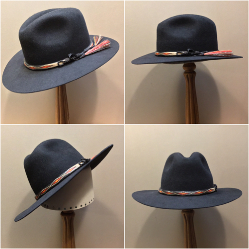 Material: 100% Beaver Color: Black Open Block: CH Brim Set/ Width: San Ann/ 3 1/4 inches Trim: Hitched horsehair