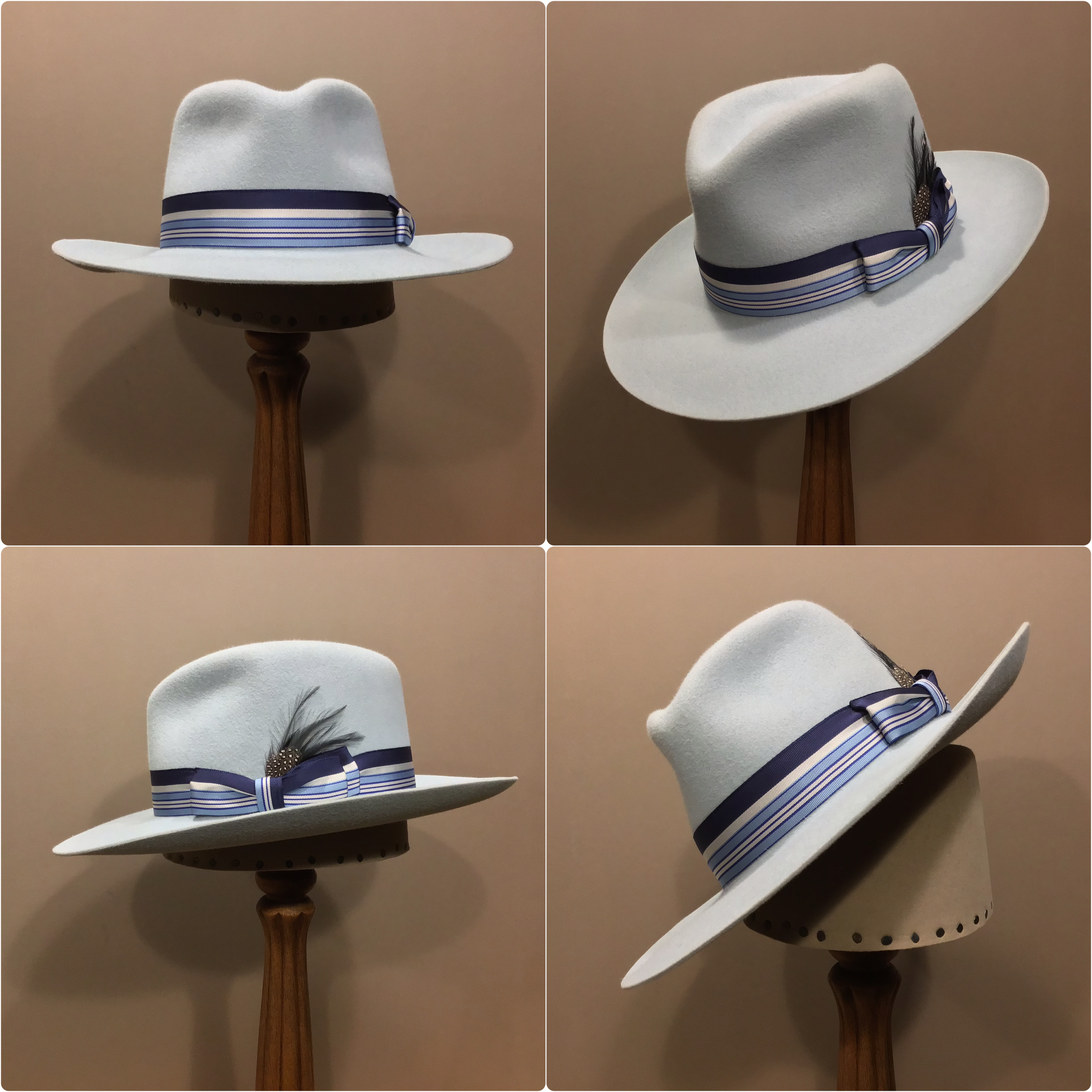 Material: 100% Rabbit Color: Powder Blue Open Block: CH Brim Set/ Width: Round Up/ 3 inches Trim: 1 1/4 inch grosgrain ribbon with pleated double-back bow and feather