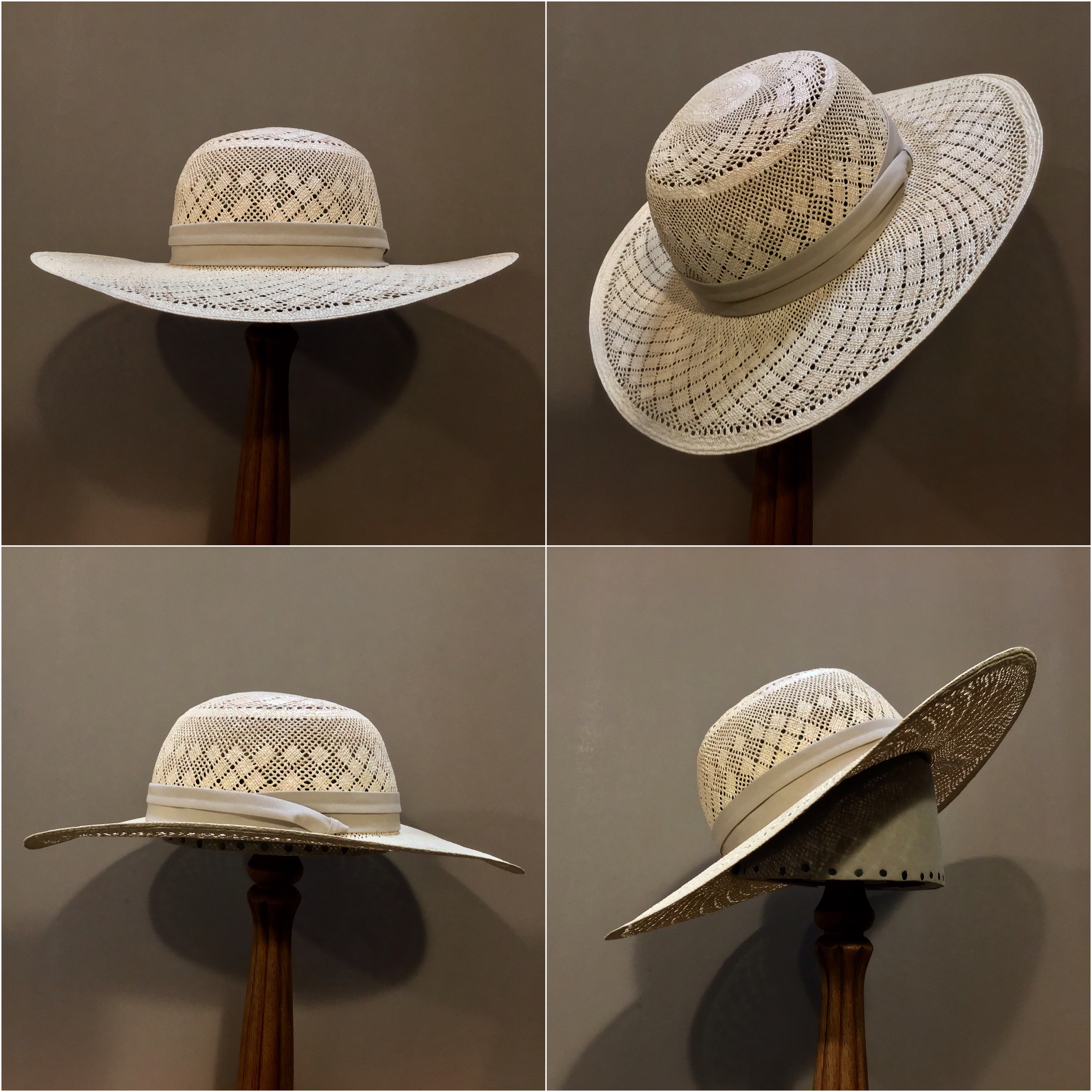 Weave: Plantilla colado Grade: 10 Open Block: Pledge Brim Set/ Width: San Ann/ 3 3/4 inches Trim: Cotton puggaree