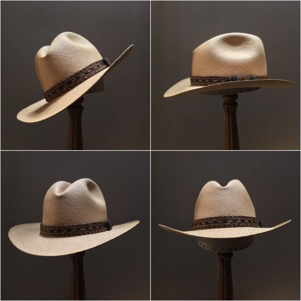 Weave: Cuenca Grade: 8/10 Color: Latte Open Block: #44 Brim Set/ Width: #23/ 3 1/4 inches Trim: Braided horsehair
