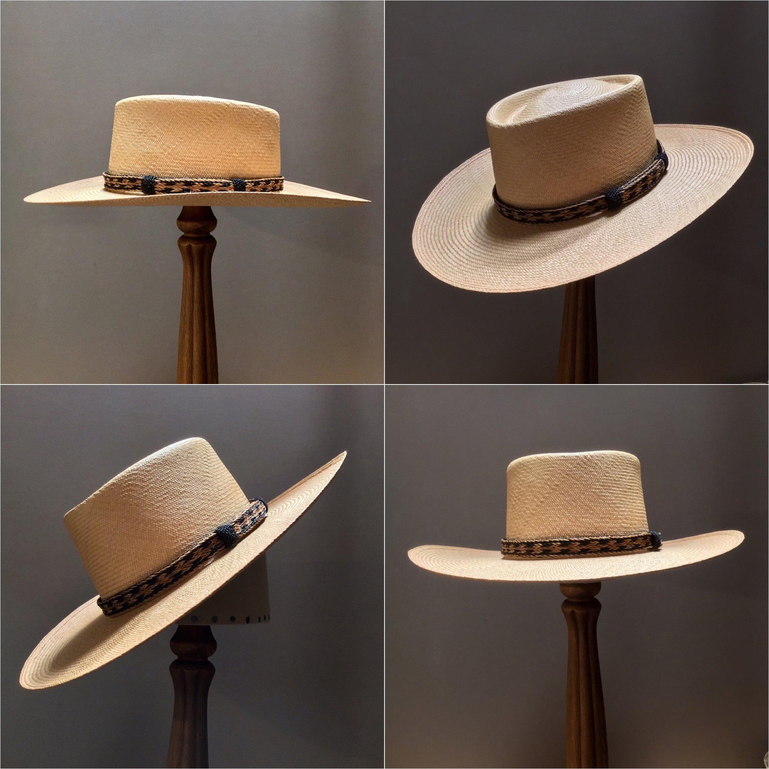 Weave: Cuenca Grade: 8/10 Color: Latte Open Block: CH Brim Set/ Width: San Ann/ 3 1/2 inches Trim: Braided horsehair