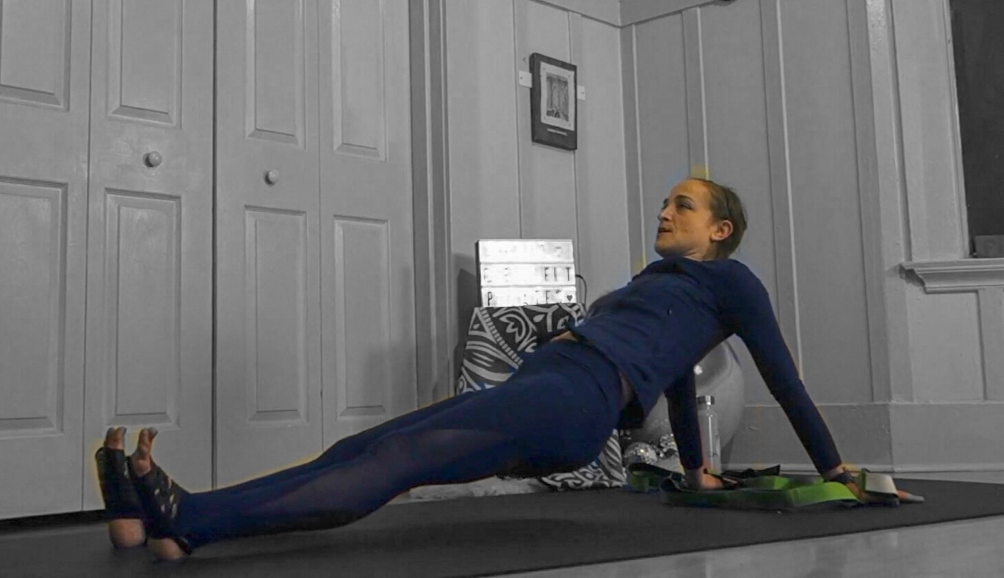 reverse plank shoulder stretch stretching loop jessi fit pilates