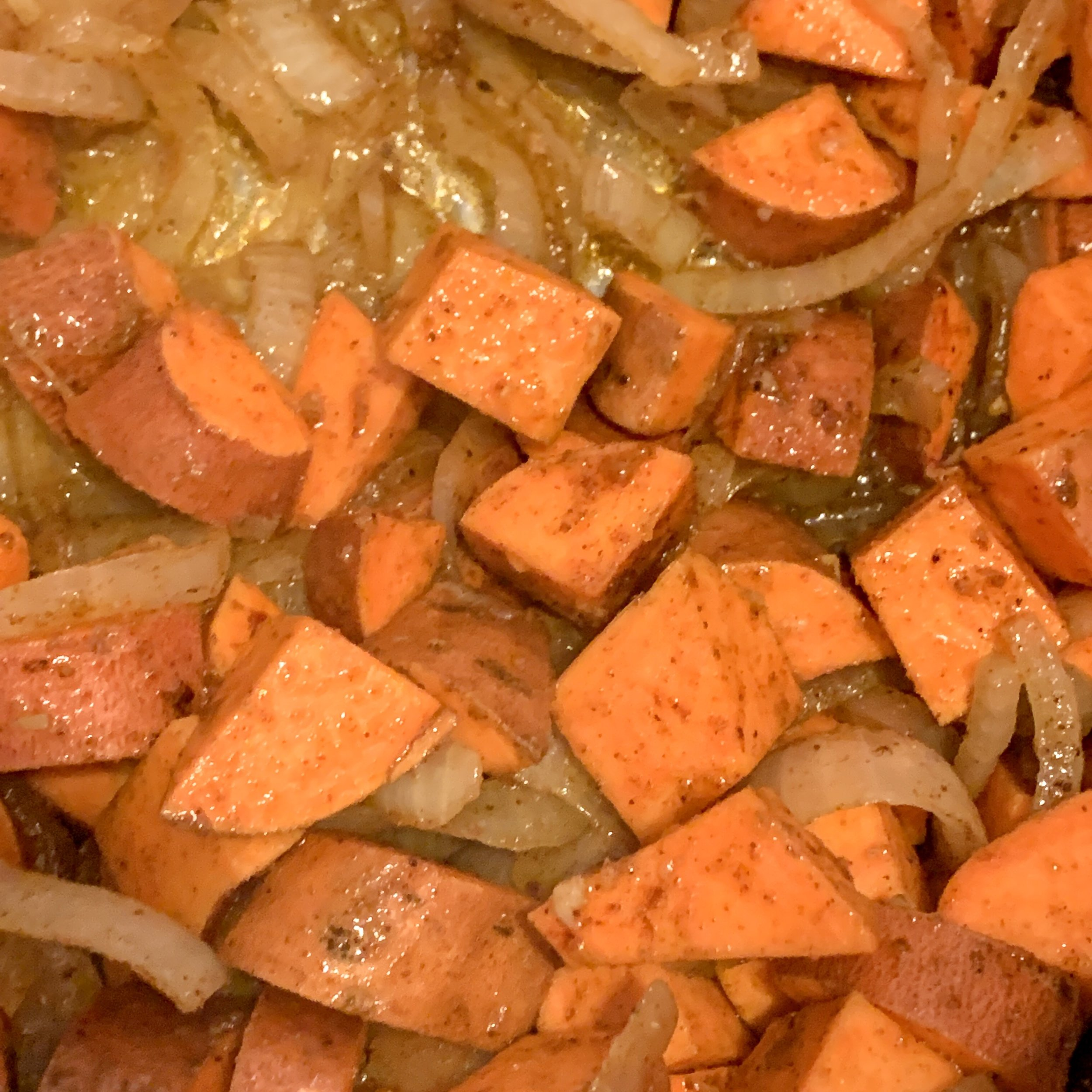 Toss in the sweet potatoes spicesVegan Gluten Free Bourbon Chili