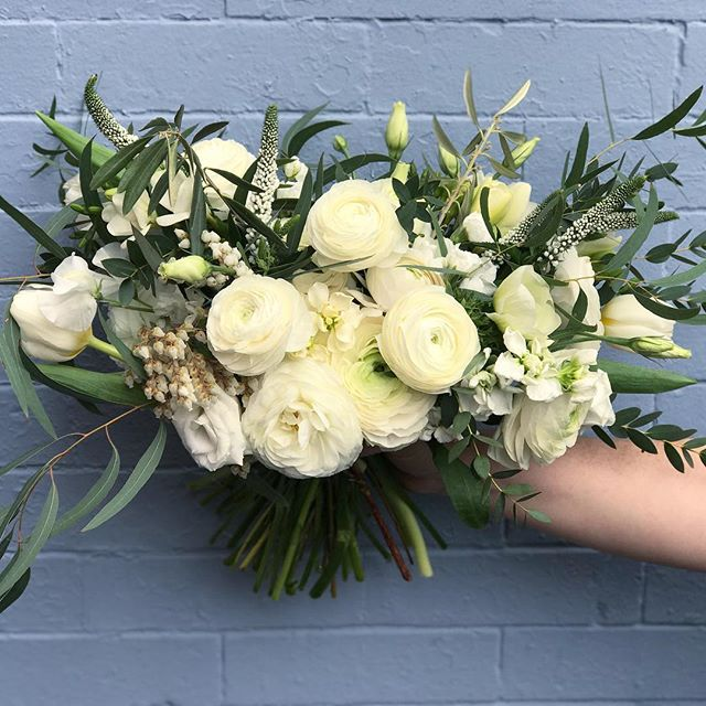 Bridal and bridesmaid bouquets for a civil ceremony overflowing with ranunculus! . . . . . #dcwedding #dcflorist #littleacredc #bridalbouquet #bridesmaidbouquet #handtiedbouquet #whiteandgreenwedding #civilceremony #localflowers #grownnotflown #americangrownflowers