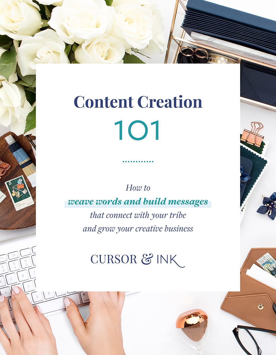 Content Creation 101 Ebook - How to weave words and build messages that connect with your tribe and grow your creative business. Includes 23 pages of workbooks & cheat sheets.