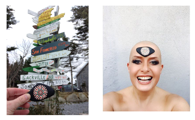 Sara's Travelling Kindness Rock, painted with green to represent Macmillan Cancer Care and dots to look like, well... boobs!  Left: A picture before the TKR travelled to Sara, taken at my parents' home in Nova Scotia, Canada  Right: Sara used her TKR for her Daily Headgear Challenge to raise money for Macmillan