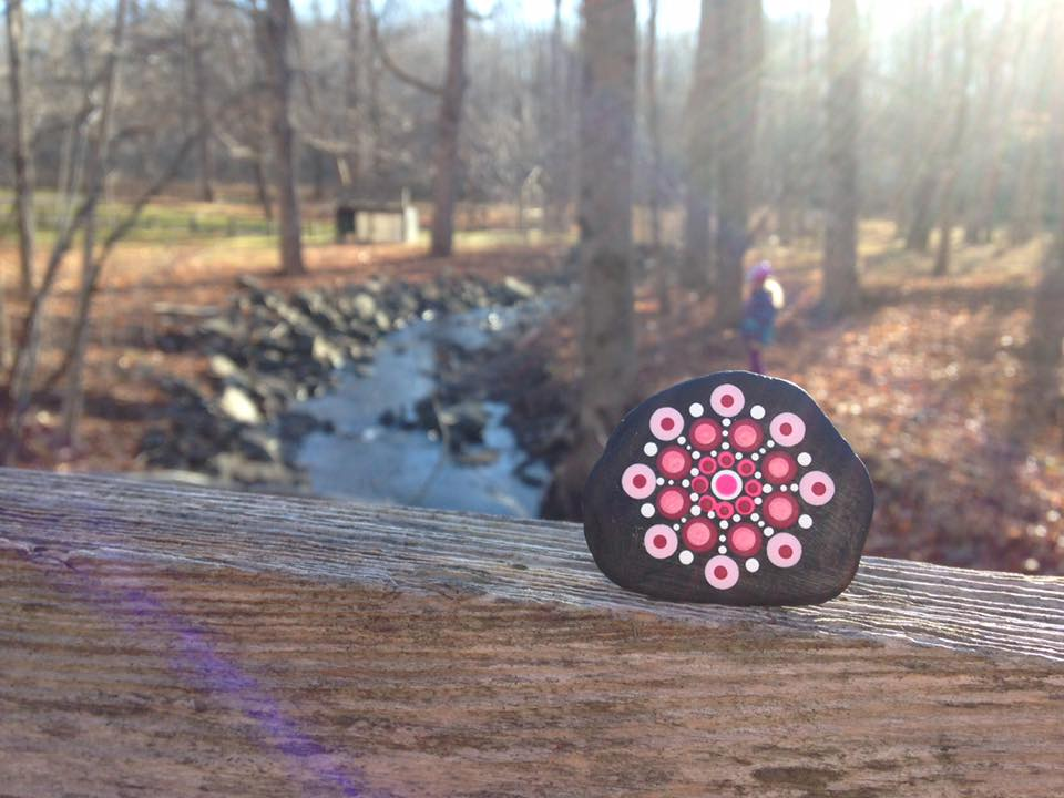 Maxine's Travelling Kindness Rock at Smiley's Park, Nova Scotia, before it travelled to her .