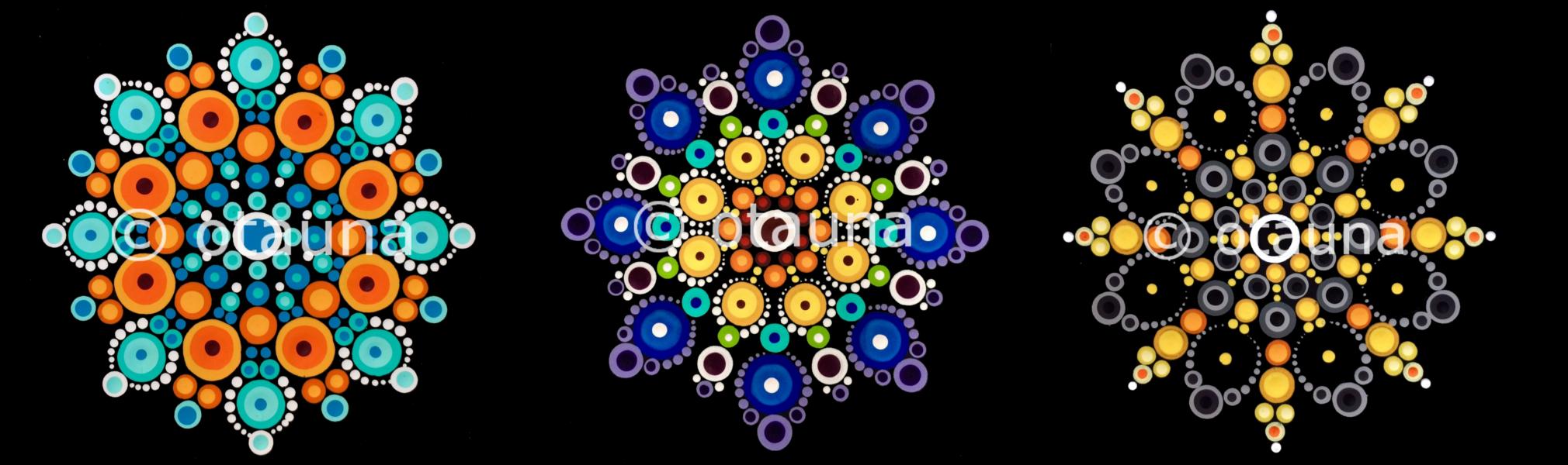 Left to right: Orange & Turquoise Mandala, Rainbow Mandala, and Balance Mandala